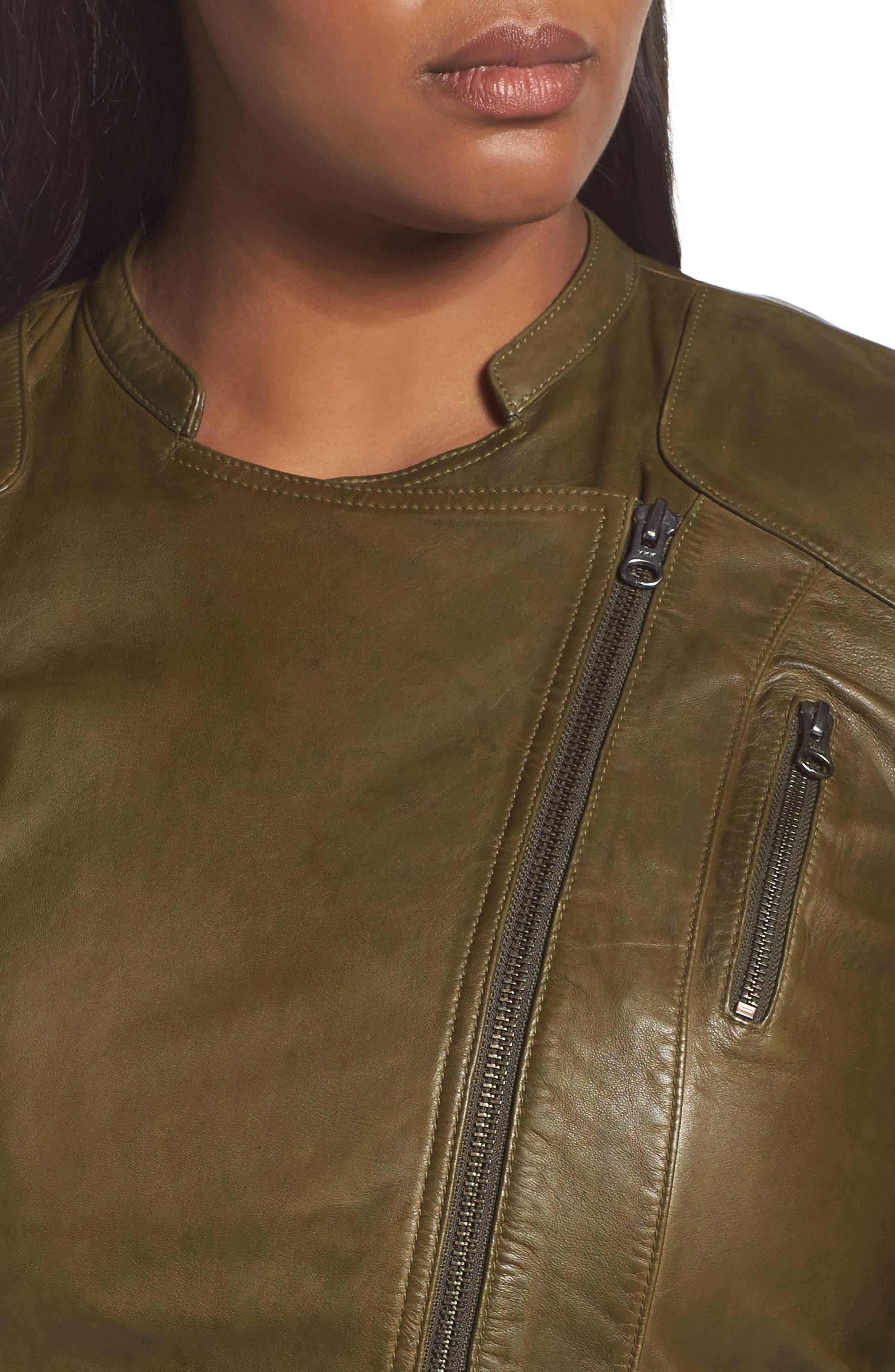 Alternate Image 4  - Sejour Leather Moto Jacket (Plus Size)