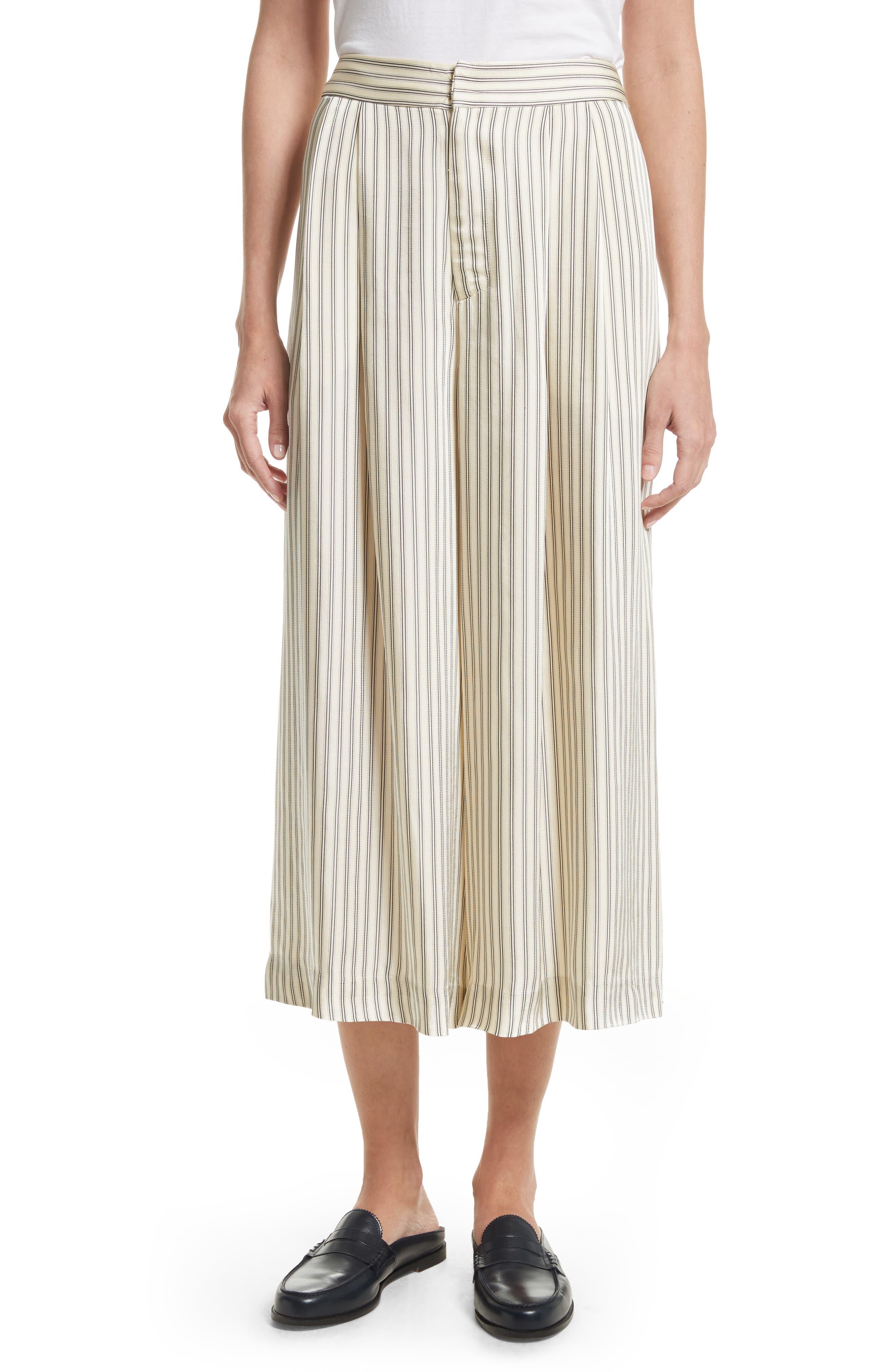 Stripe Culottes,                         Main,                         color, Cream Pinstripe