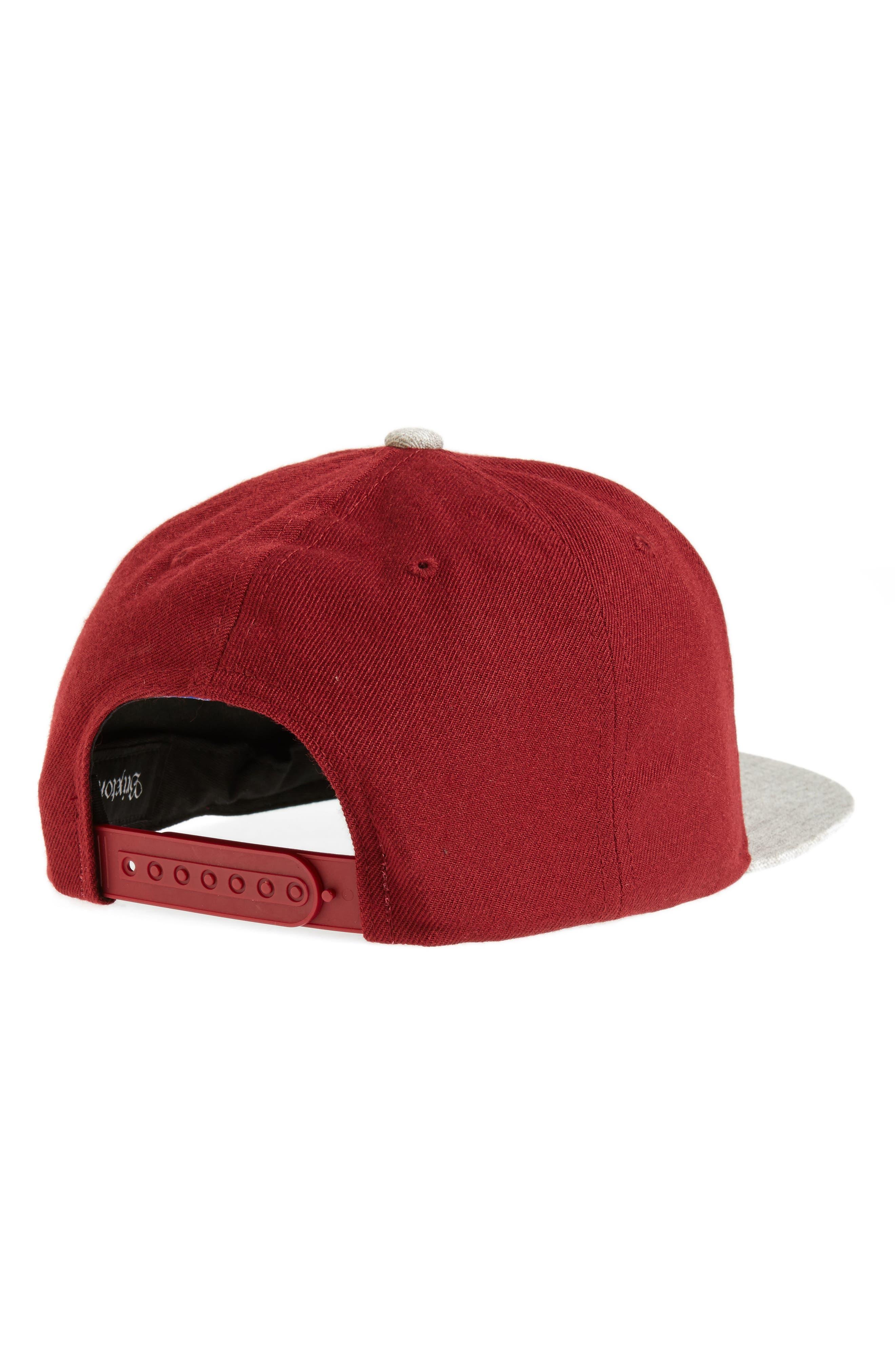 Wheeler Snapback Baseball Cap,                             Alternate thumbnail 2, color,                             Burgundy/ Heather Grey