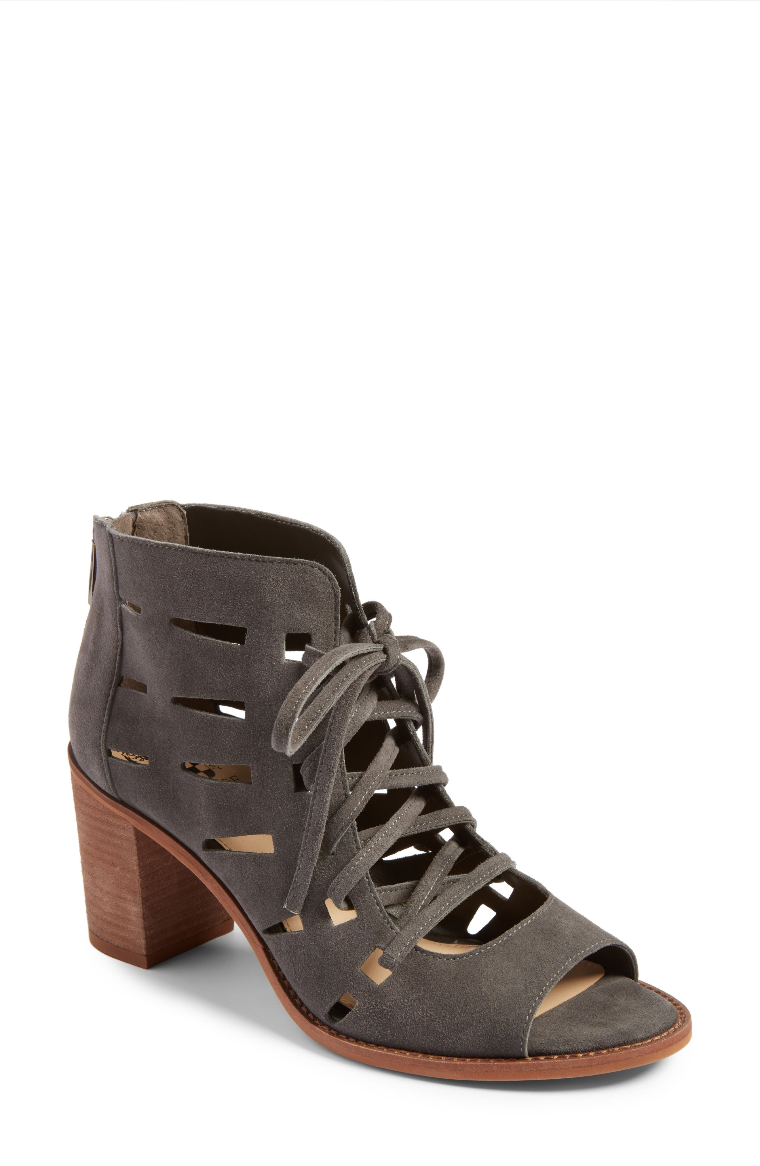 Tressa Perforated Lace-Up Sandal,                         Main,                         color, Greystone Suede