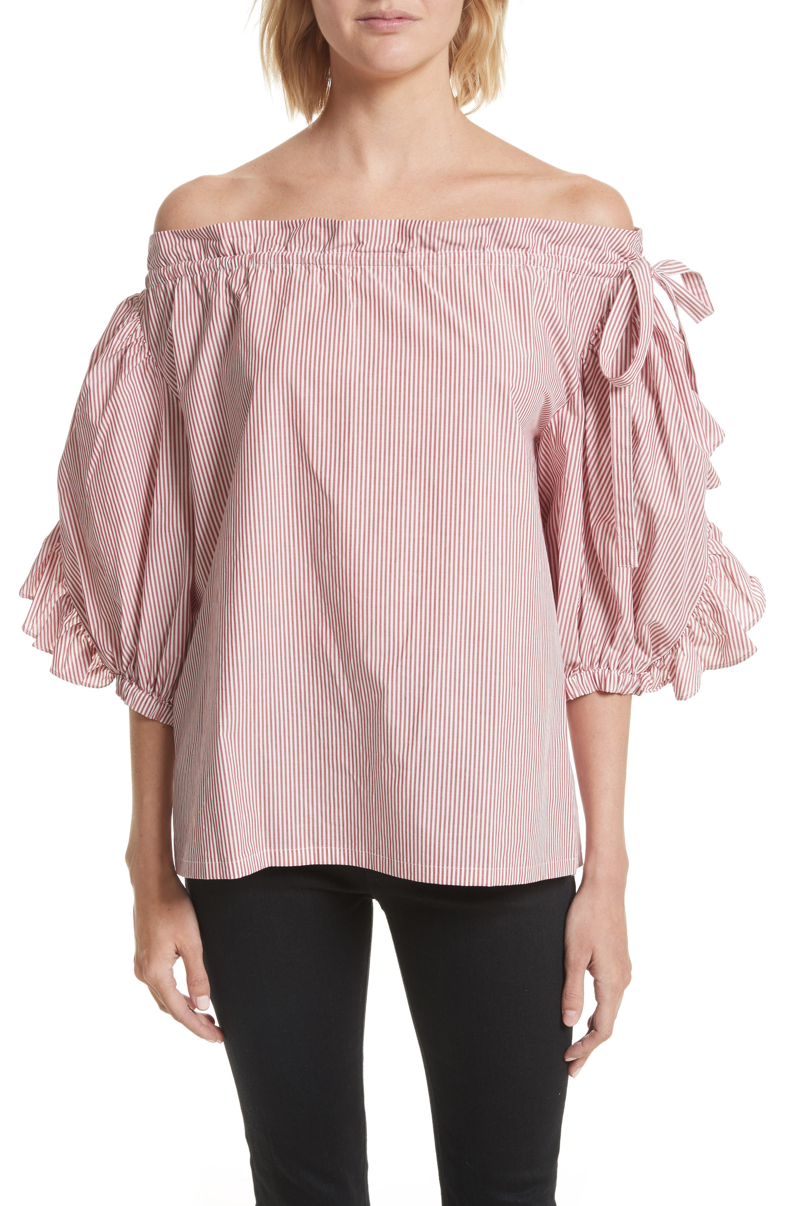 ROBERT RODRIGUEZ Stripe Ruffle Off the Shoulder Top