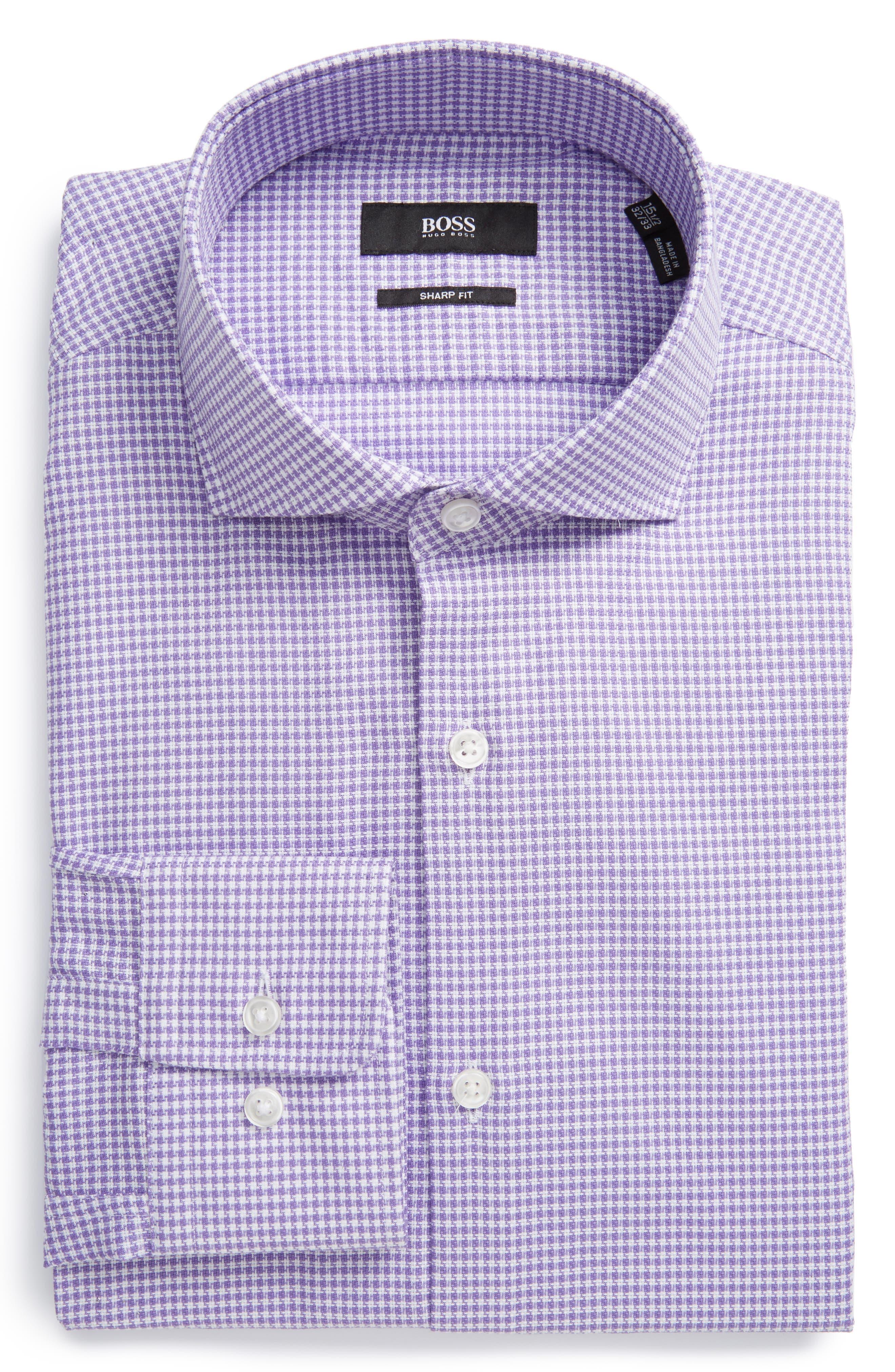 BOSS Sharp Fit Houndstooth Dress Shirt