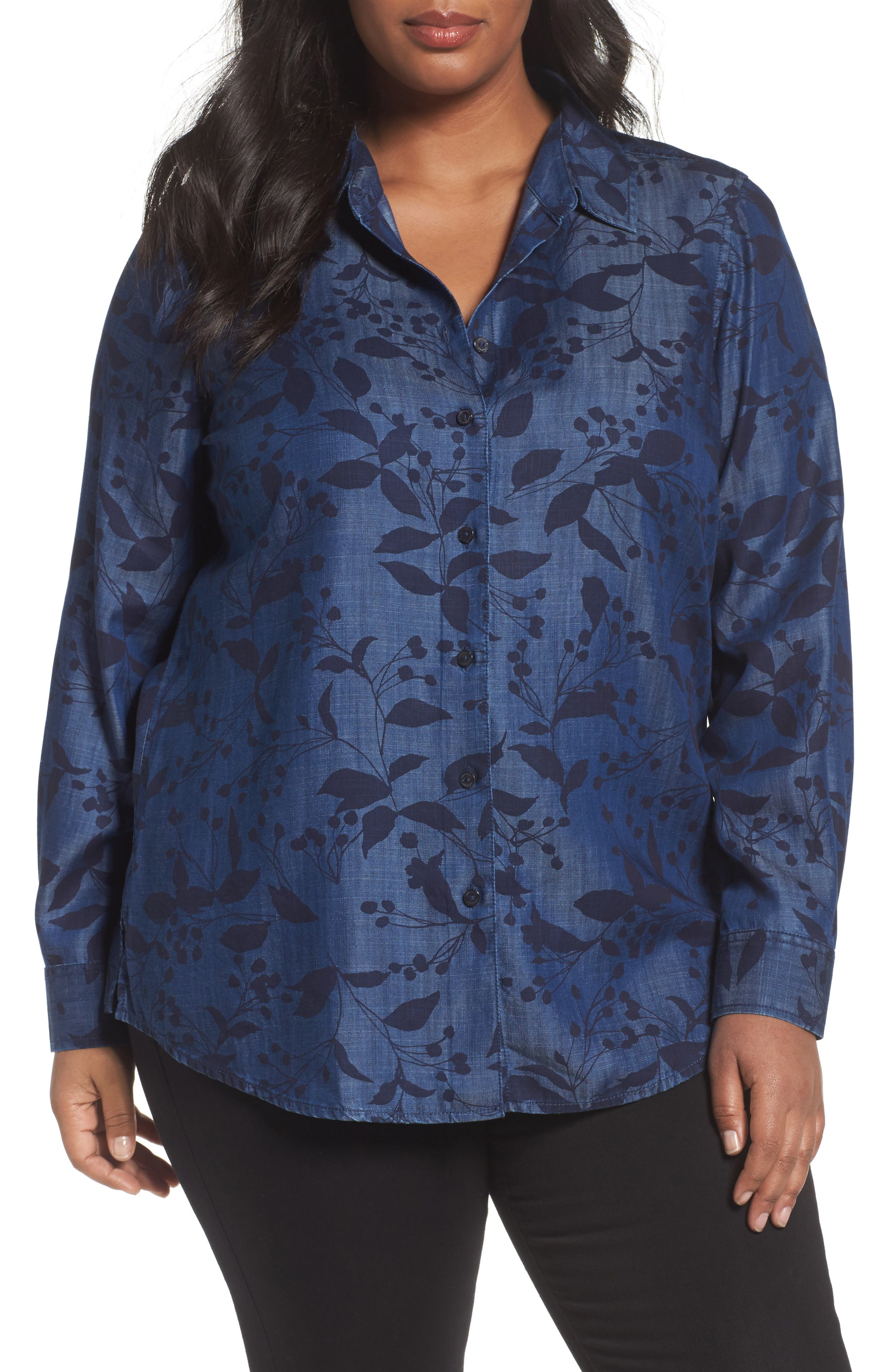 Alternate Image 1 Selected - Foxcroft Addison Floral Print Tencel® Shirt (Plus Size)