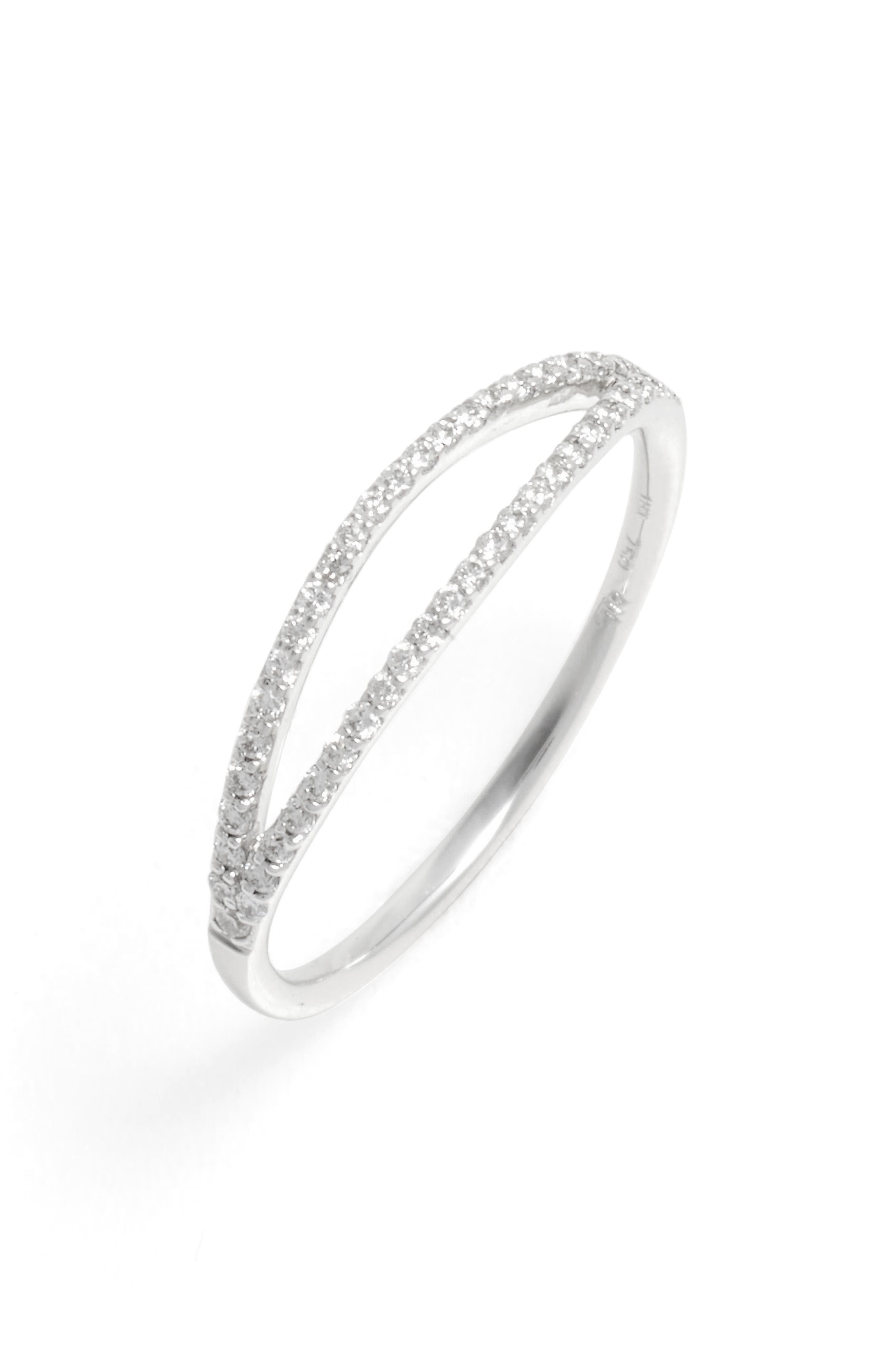 Kiera Two-Row Diamond Stack Ring,                         Main,                         color, White Gold