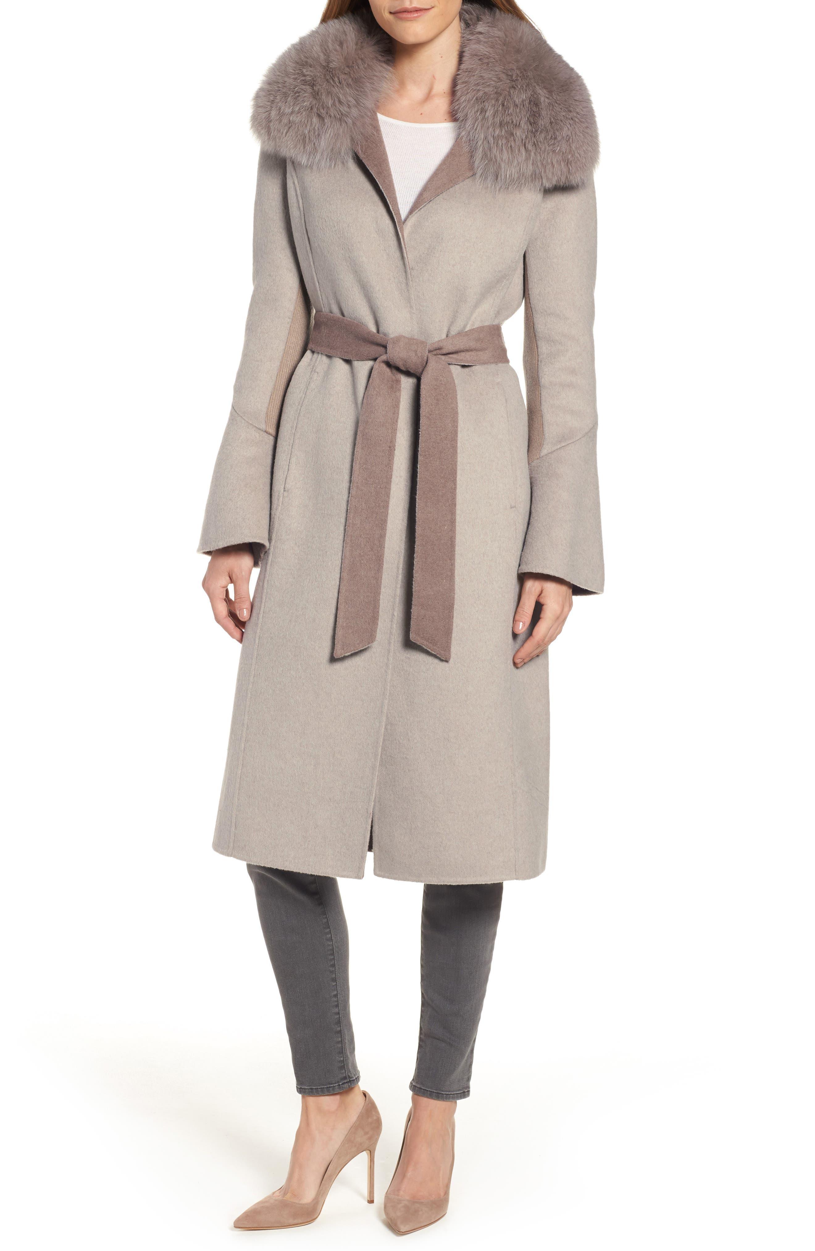 Elie Tahari Annabelle Genuine Fox Fur Trim Double Face Long Wrap Coat
