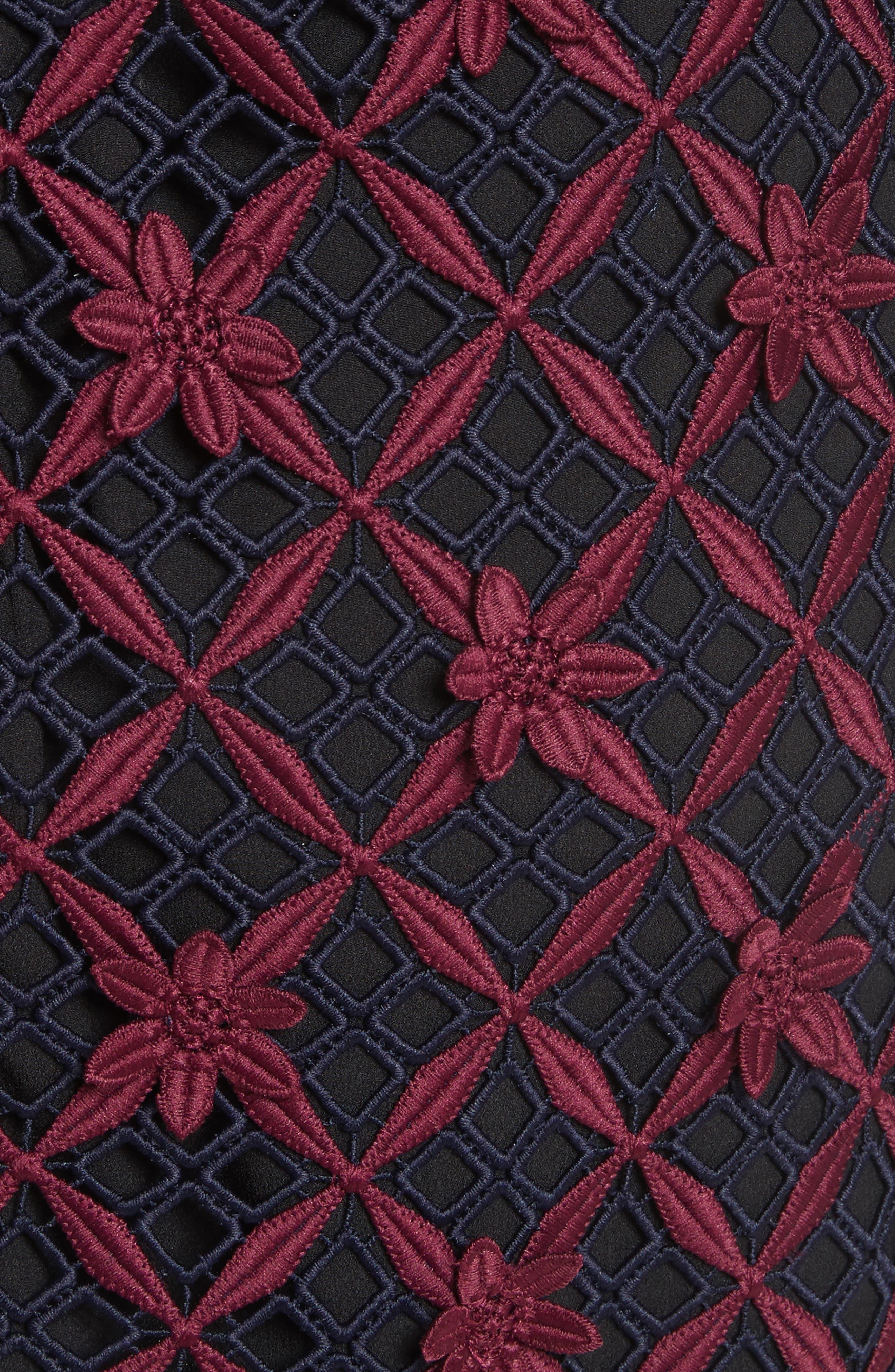 Alternate Image 5  - Self-Portrait Floral Grid Cold Shoulder Dress