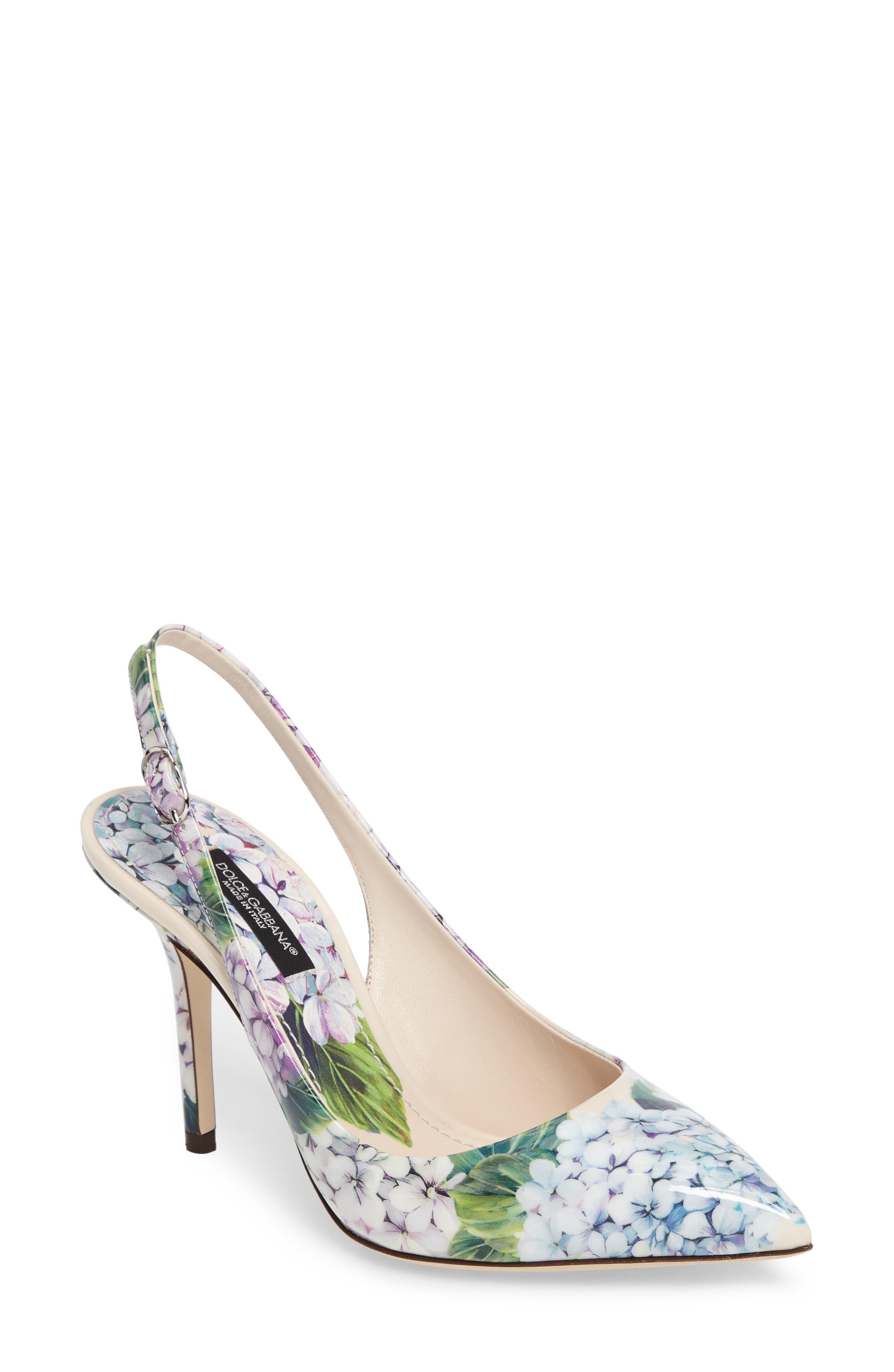 Hydrangea Slingback Sandal,                         Main,                         color, White Floral