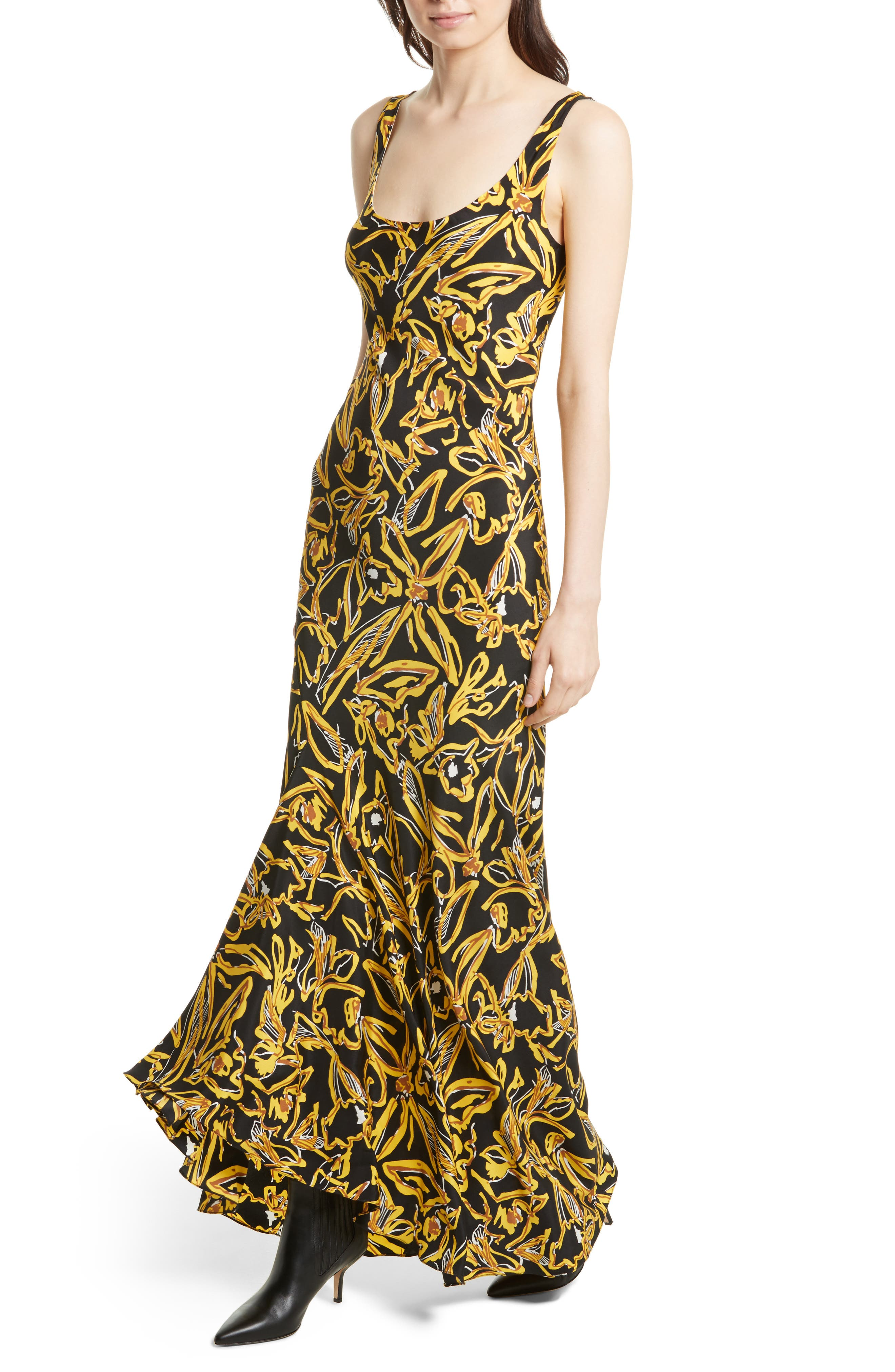 Print Silk Bias Slip Gown,                             Alternate thumbnail 3, color,                             Elsden Black