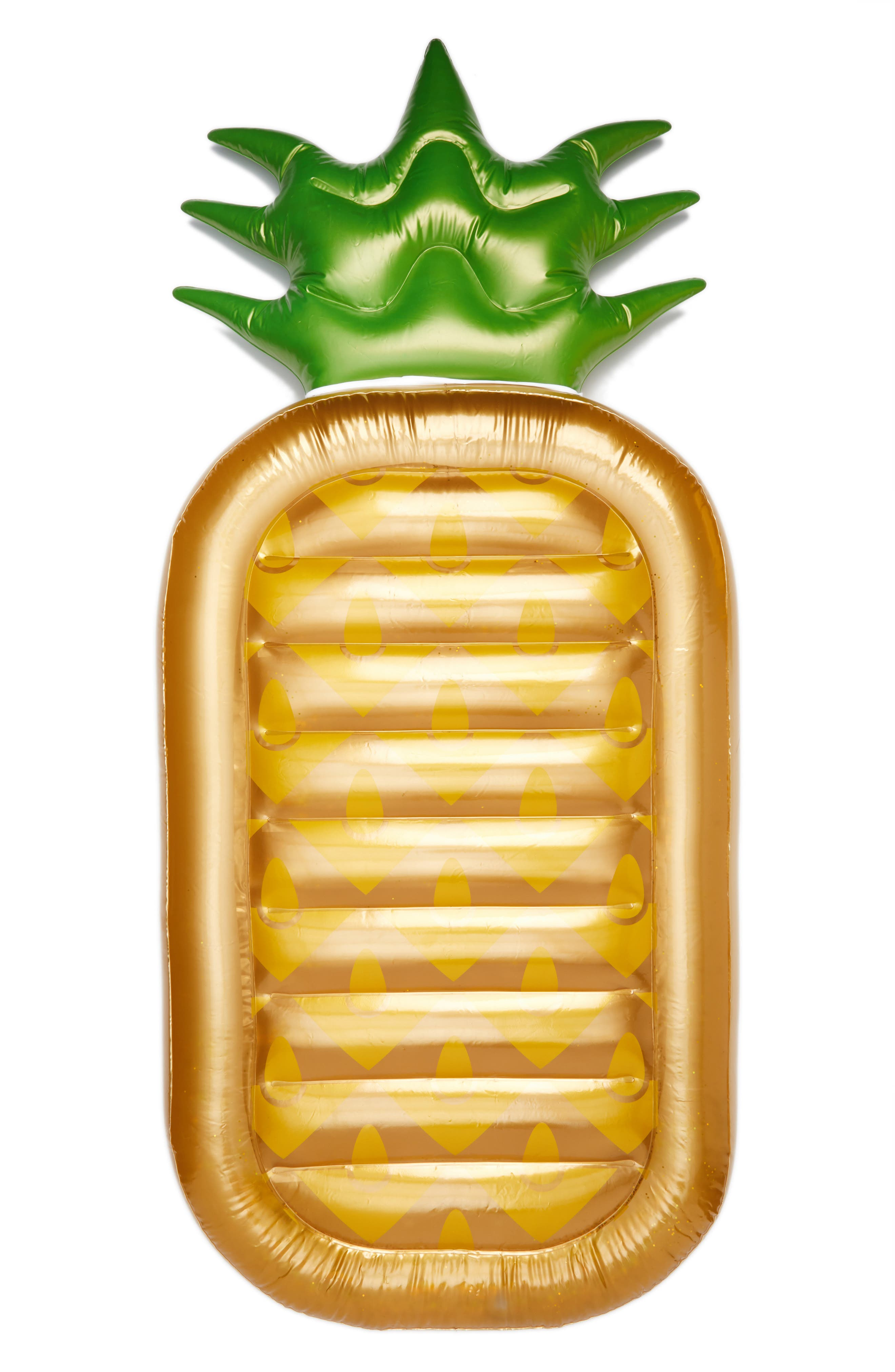 Inflatable Pineapple Pool Float,                         Main,                         color, Gold