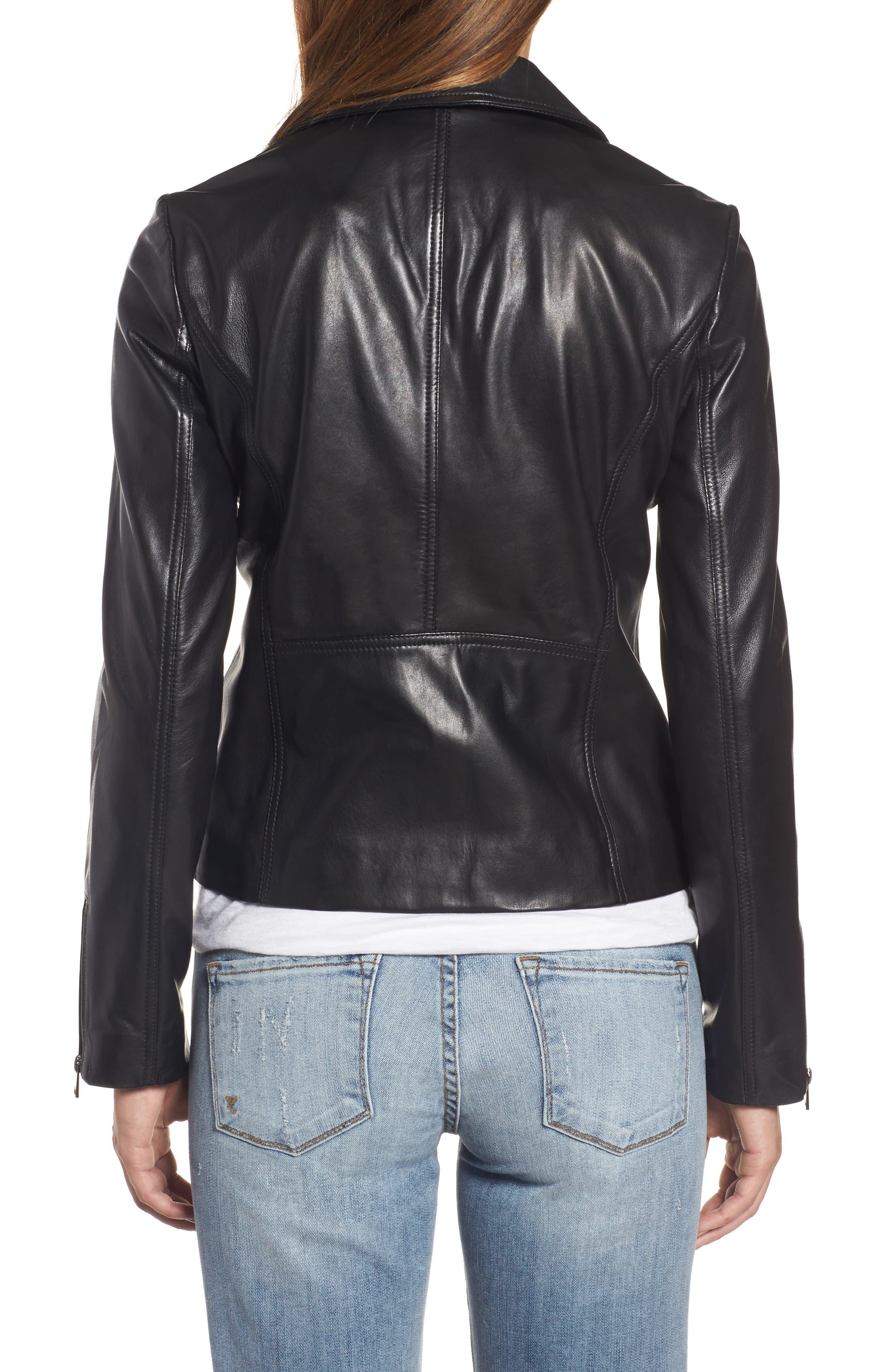 Asymmetrical Zip Leather Biker Jacket,                             Alternate thumbnail 2, color,                             Black