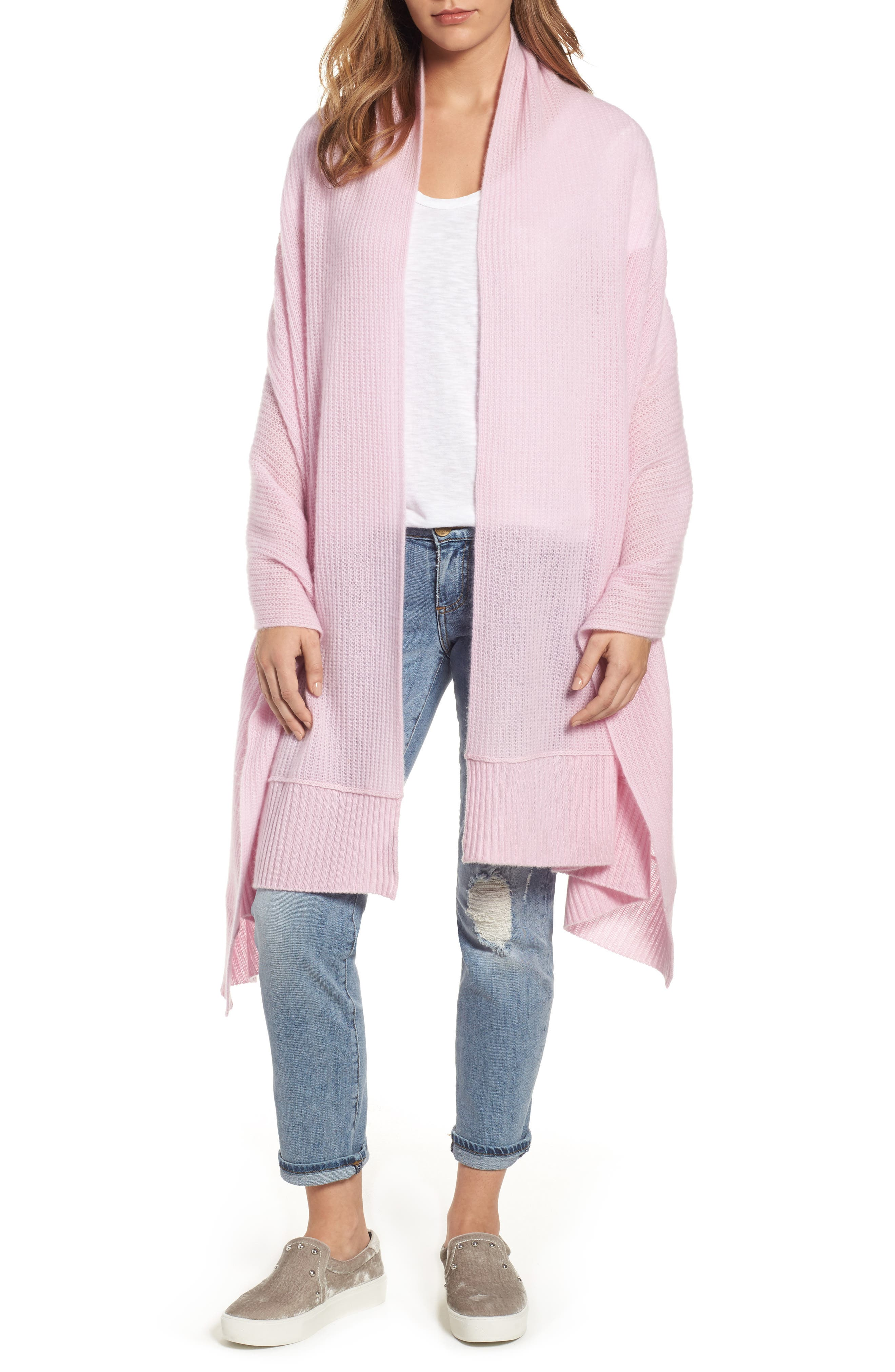 Halogen® Cardigan Stitch Cashmere Wrap