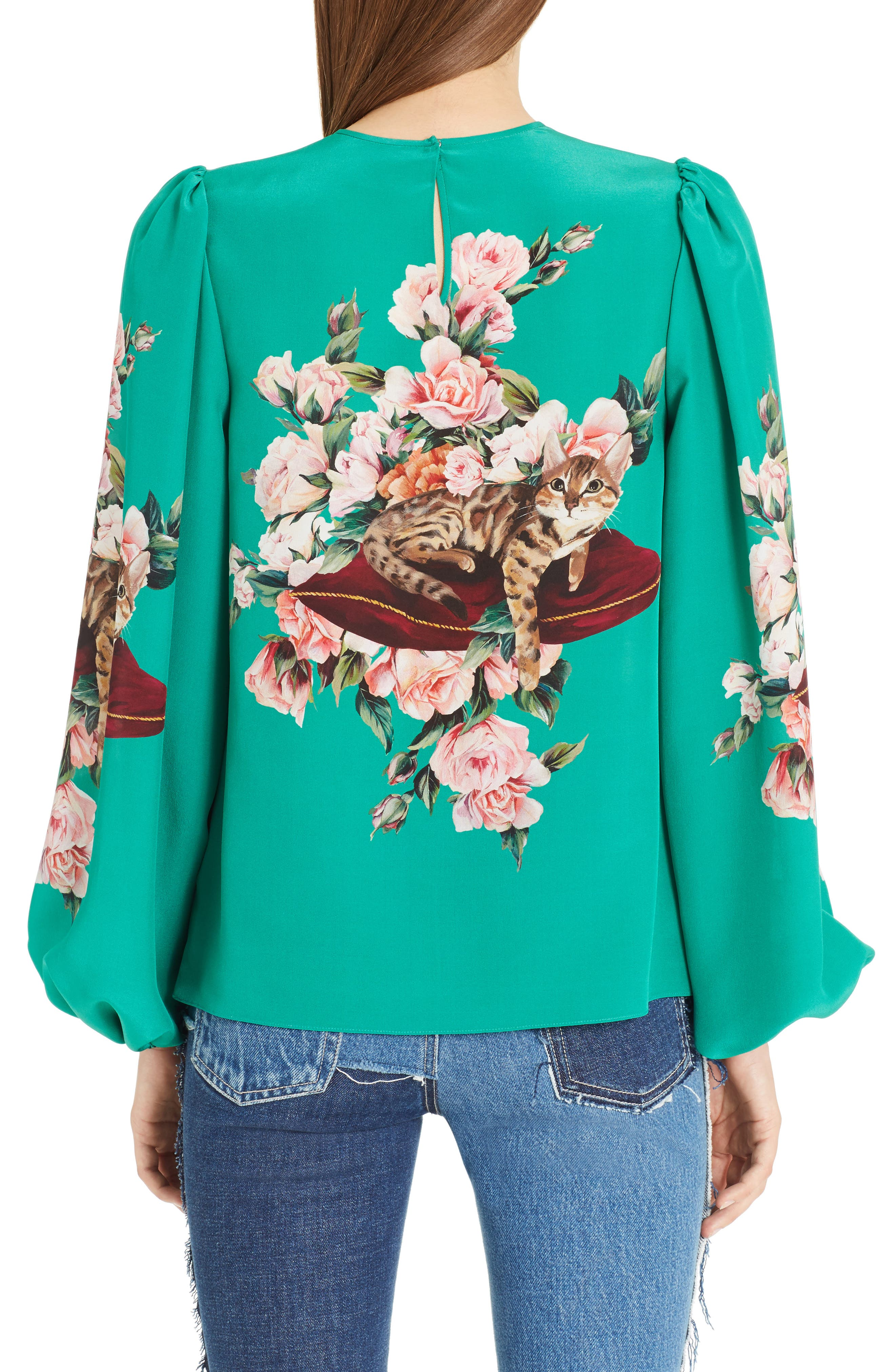 Alternate Image 2  - Dolce&Gabbana Cat Print Silk Bell Sleeve Blouse