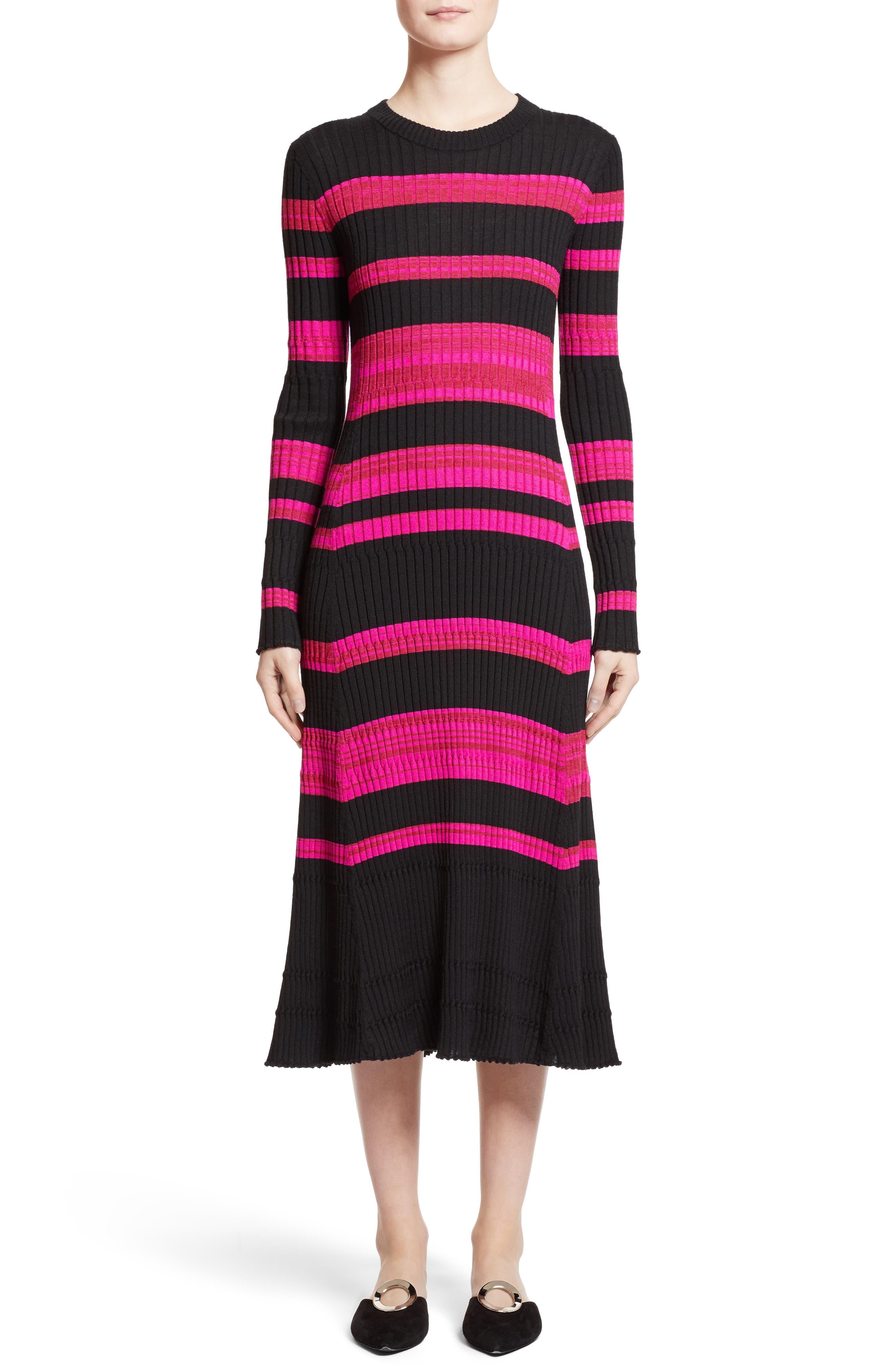Stripe Cashmere, Wool & Silk Midi Dress,                             Main thumbnail 1, color,                             Black/ Electric Pink Multi