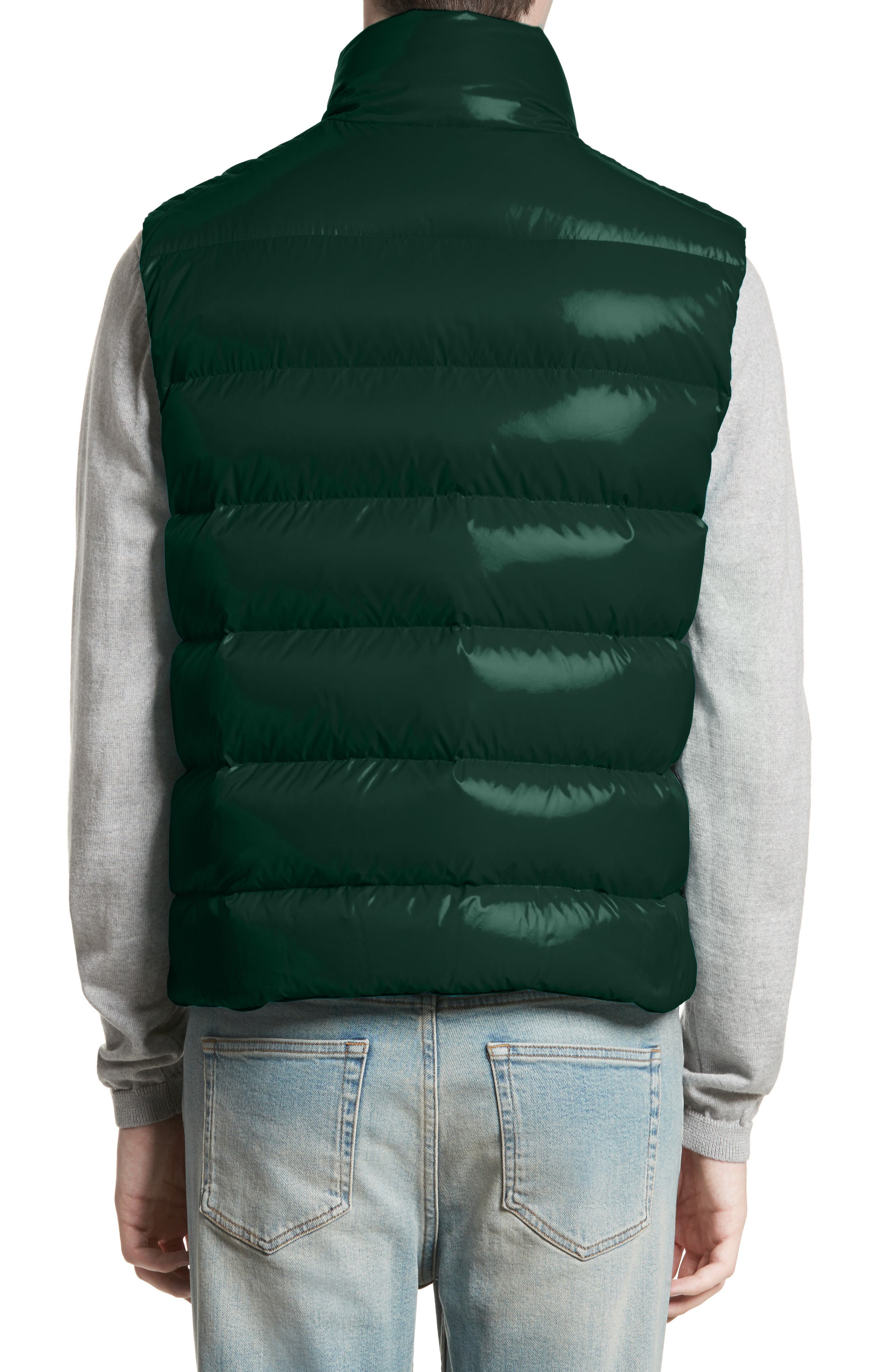 Tib Lacquered Down Vest,                             Alternate thumbnail 2, color,                             Dark Green