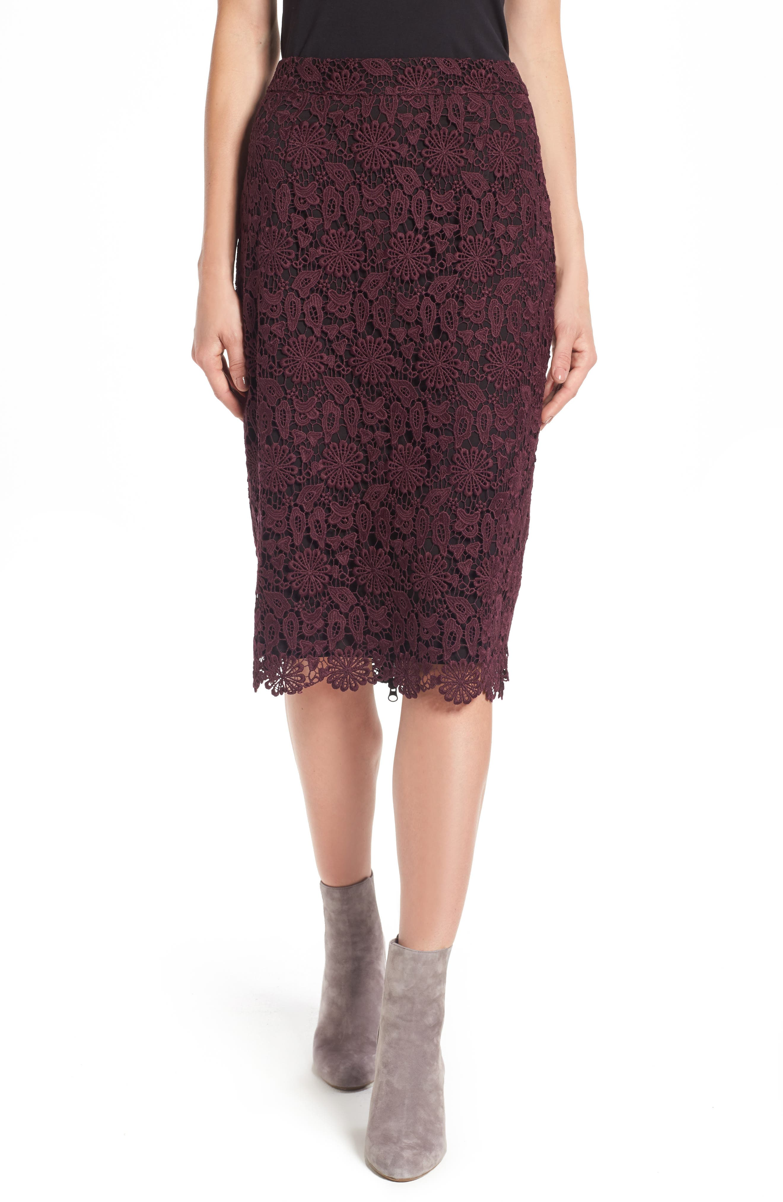 Alternate Image 1 Selected - Halogen® Lace Pencil Skirt (Regular & Petite)