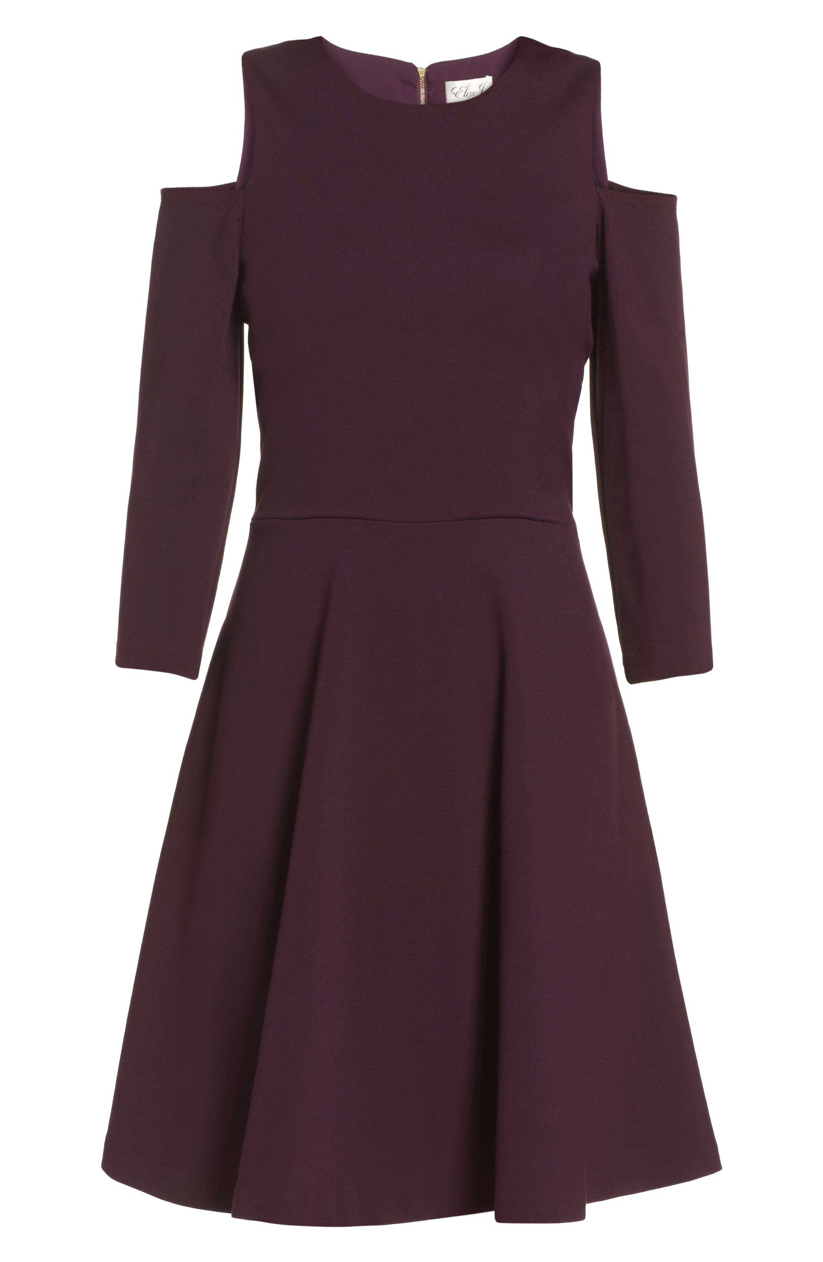 Alternate Image 6  - Eliza J Cold Shoulder Fit & Flare Dress (Regular & Petite)