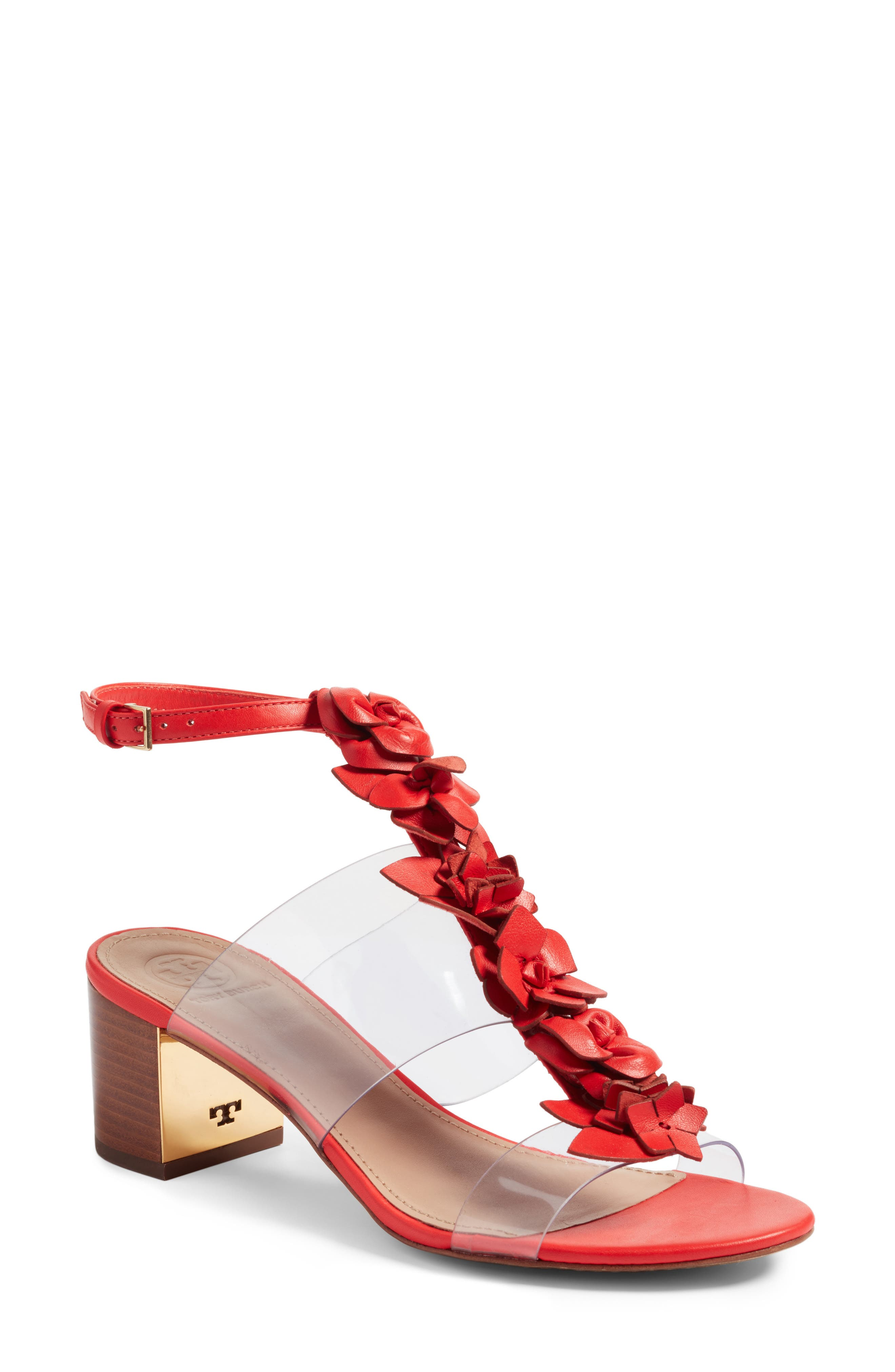 Blossom Sandal,                             Main thumbnail 1, color,                             Red Volcano/ Clear