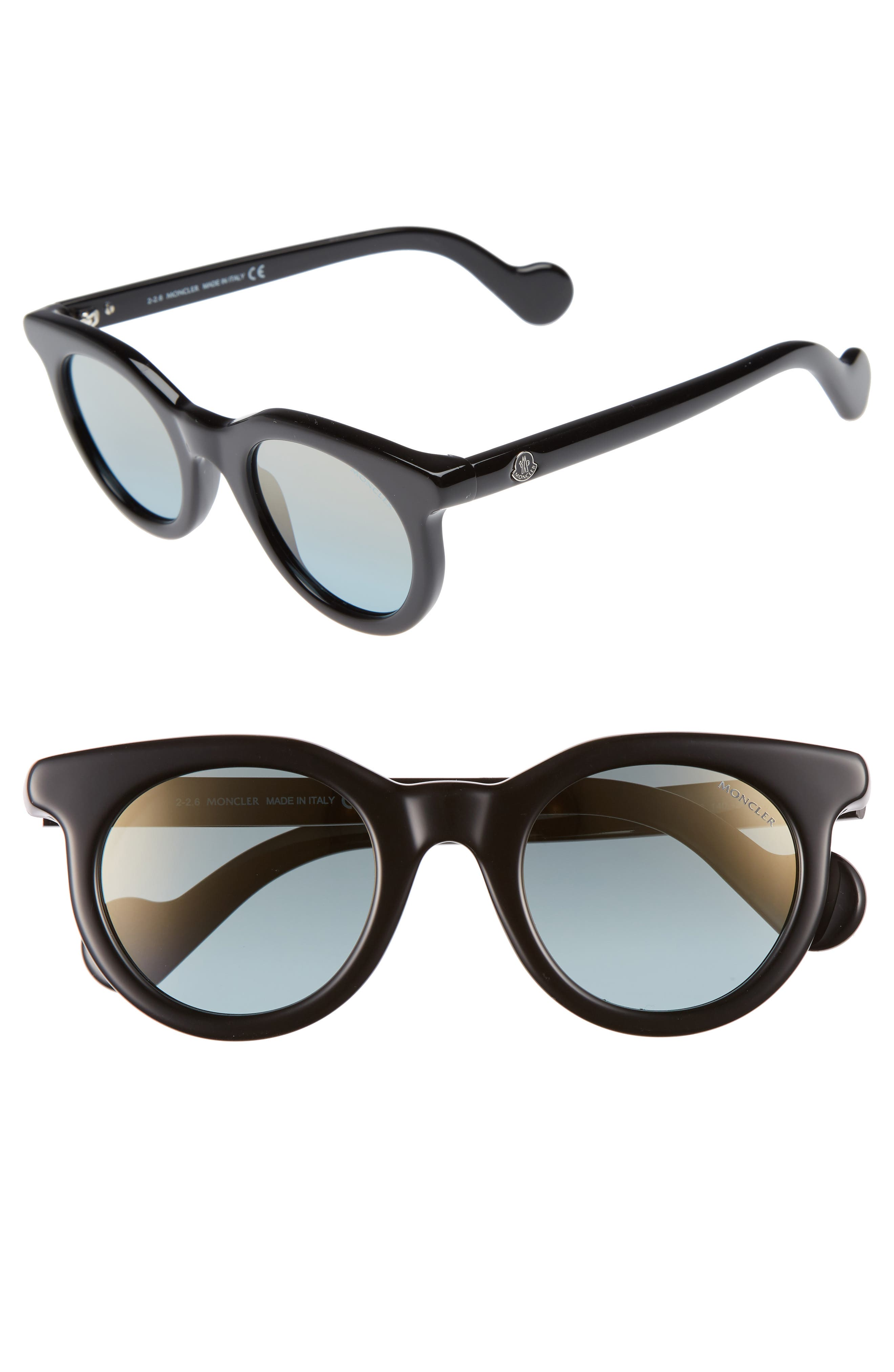 47mm Sunglasses,                         Main,                         color, Shiny Black/ Blue Mirror