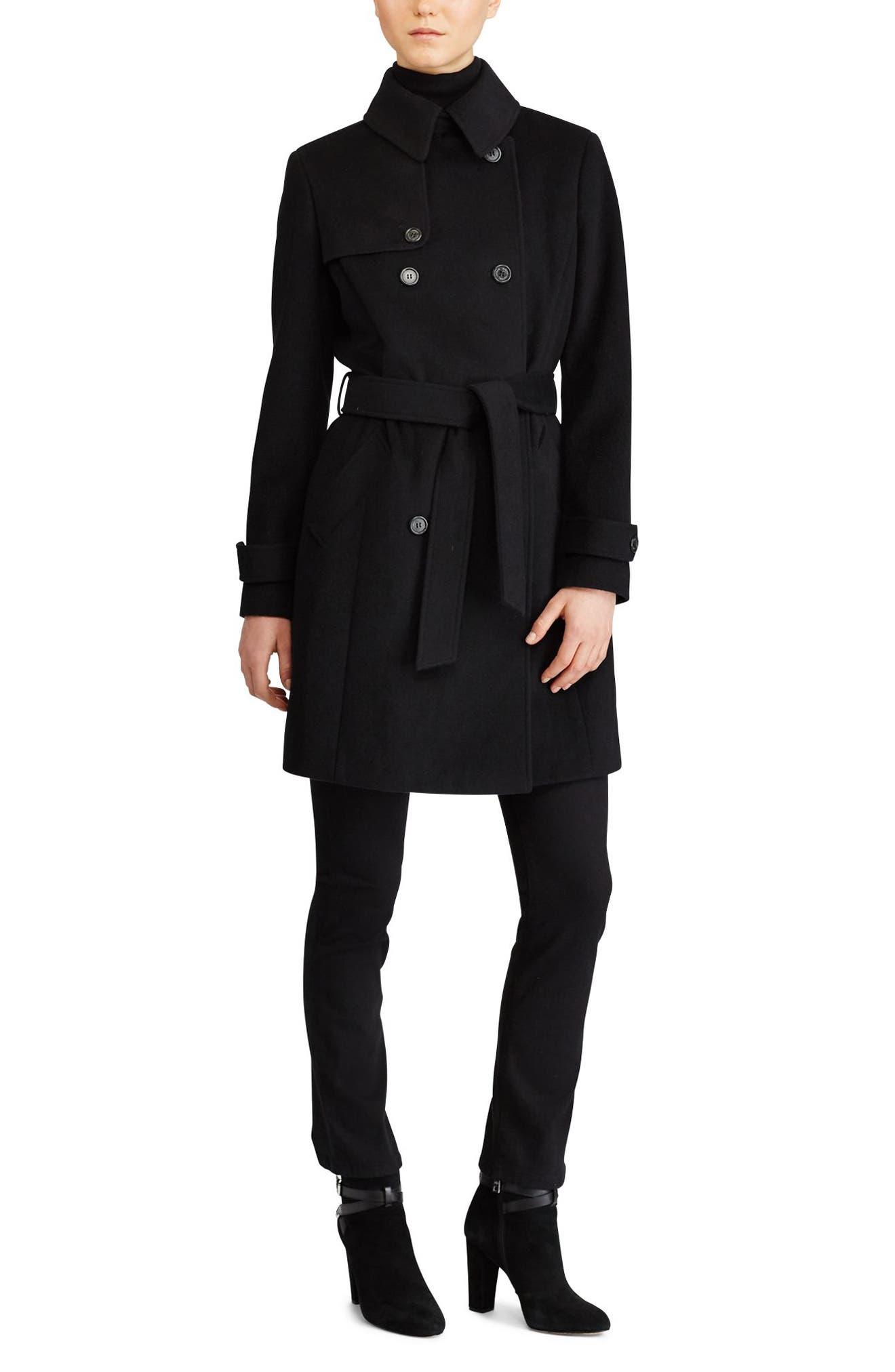 Wool Blend Trench Coat,                             Alternate thumbnail 2, color,                             Black
