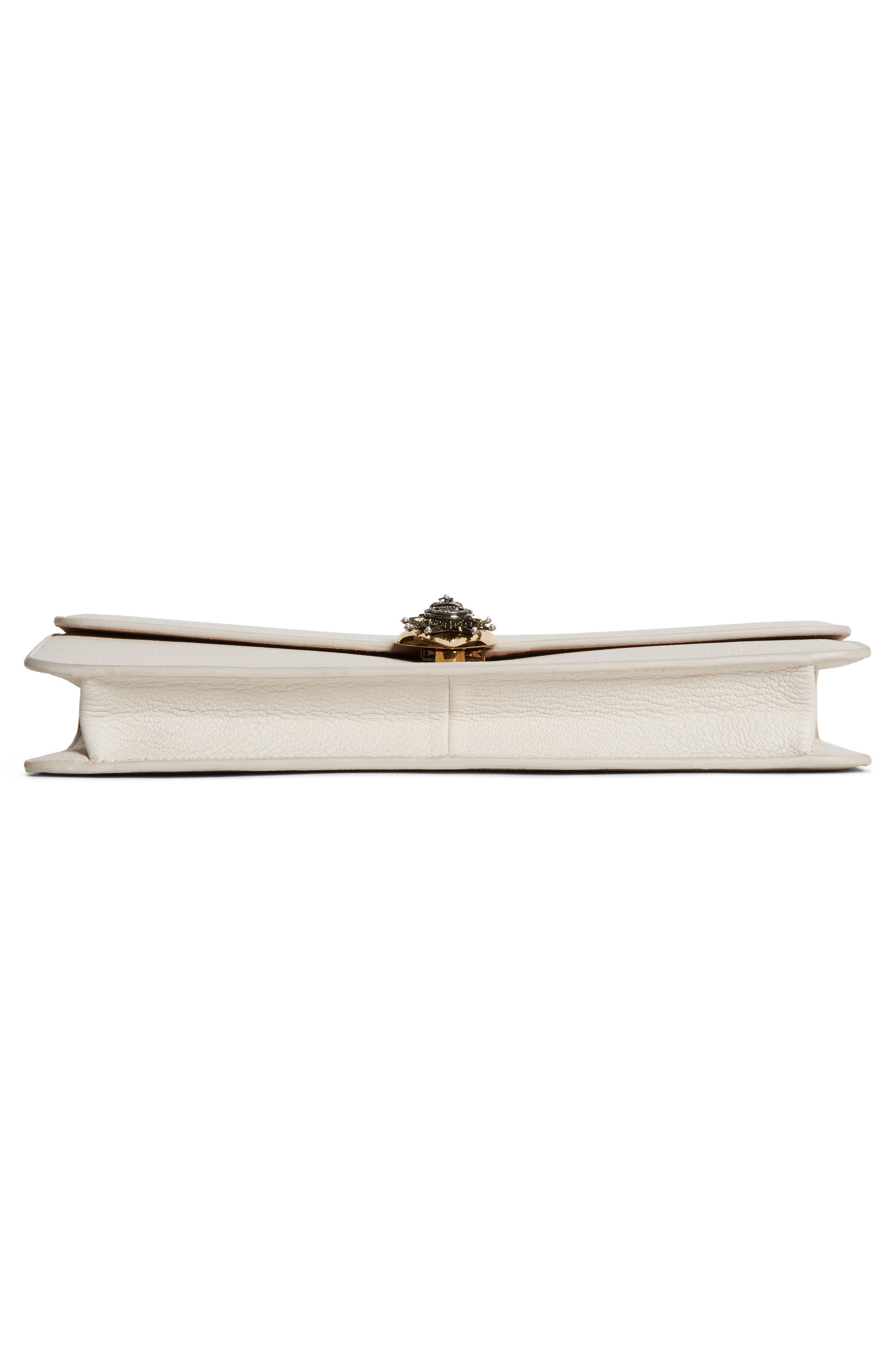 Heart Leather Clutch,                             Alternate thumbnail 6, color,                             Off White