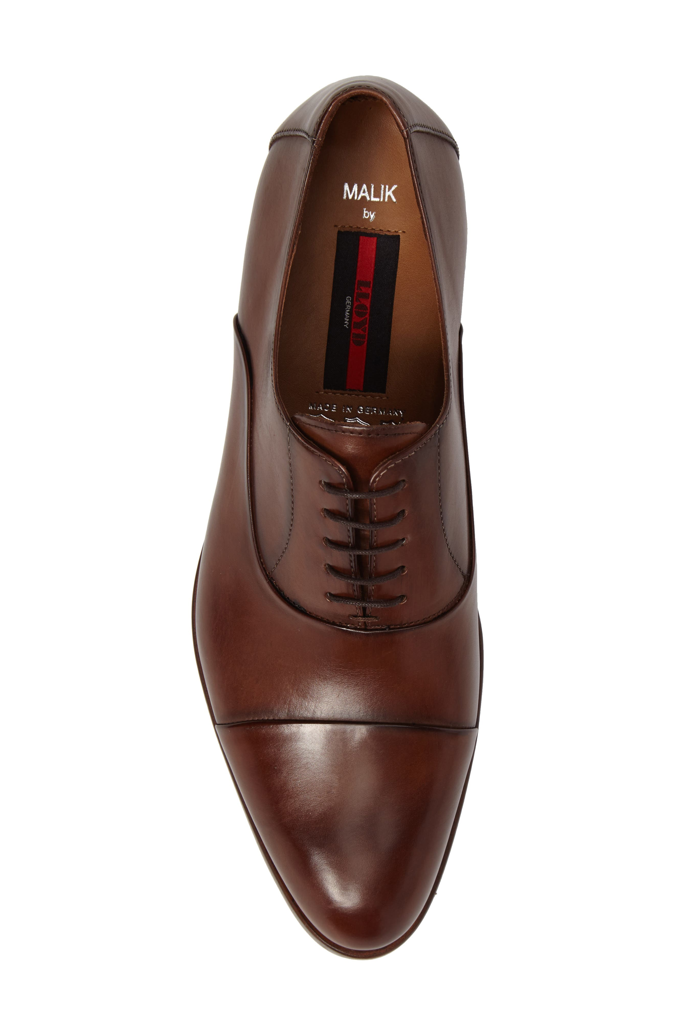 Malik Cap-Toe Oxford,                             Alternate thumbnail 5, color,                             Brown Leather