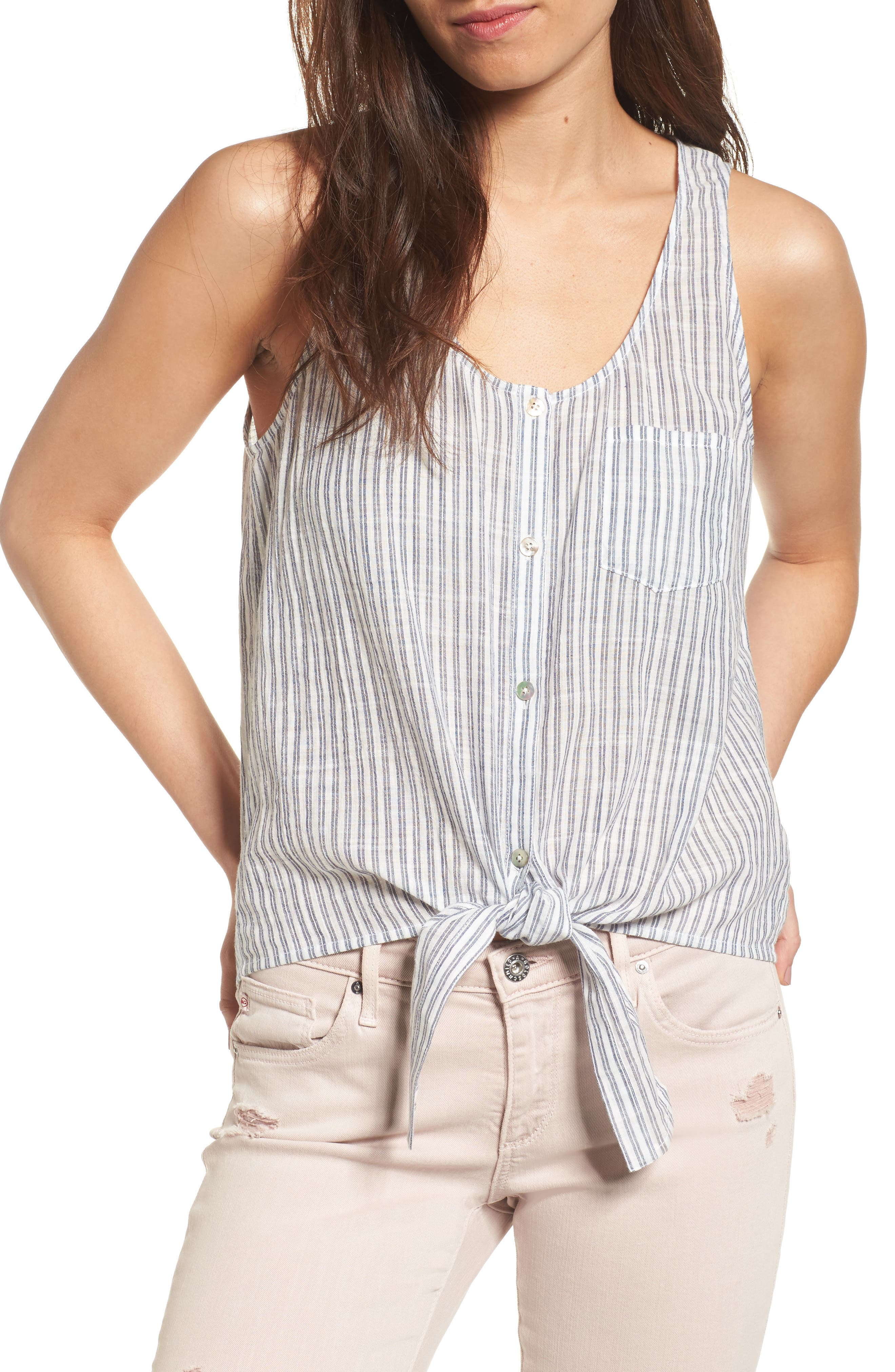 Alternate Image 1 Selected - AG Cynthia Tie Front Cotton Tank