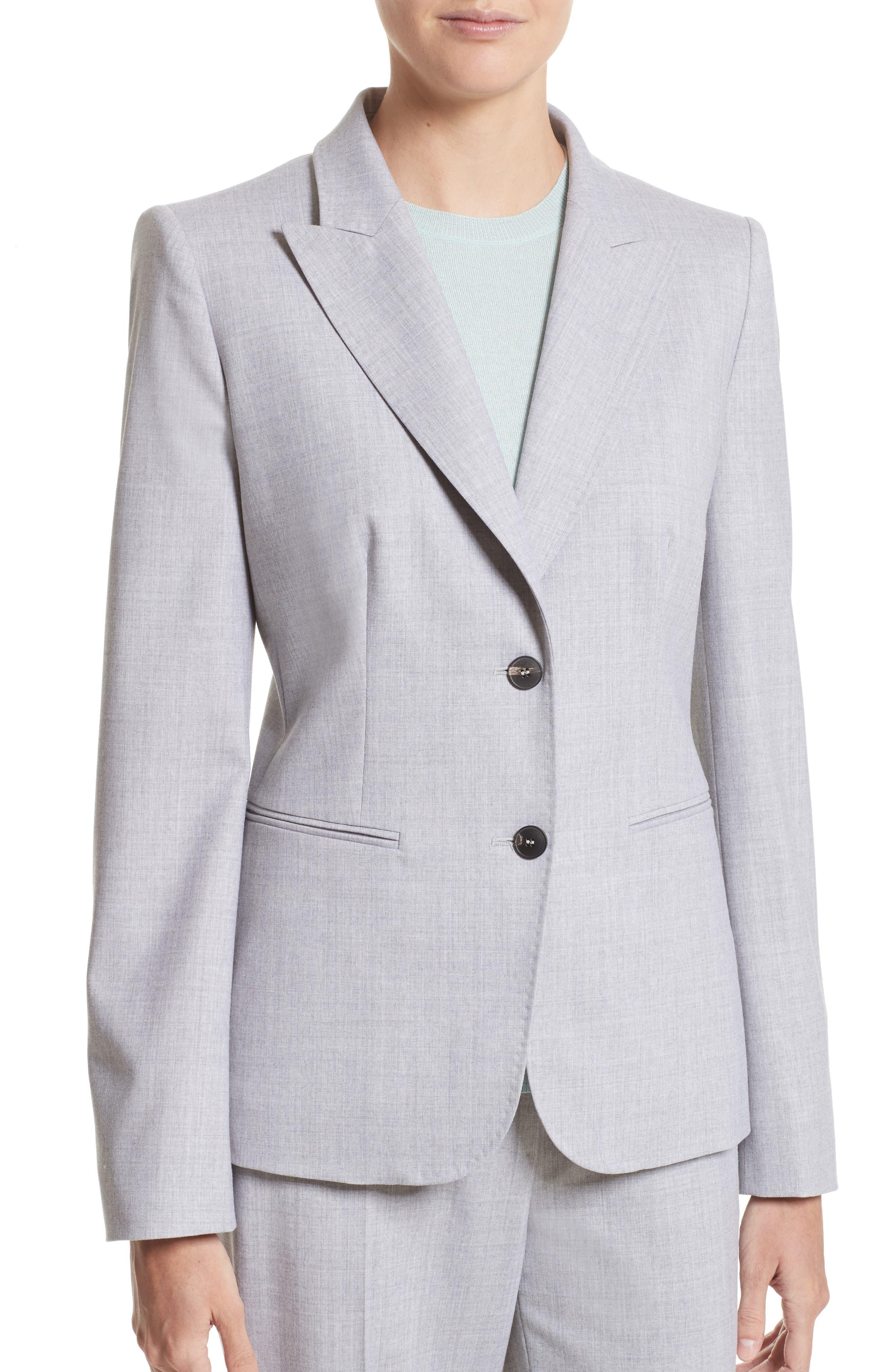 Stretch Wool Jacket,                             Alternate thumbnail 7, color,                             Light Grey