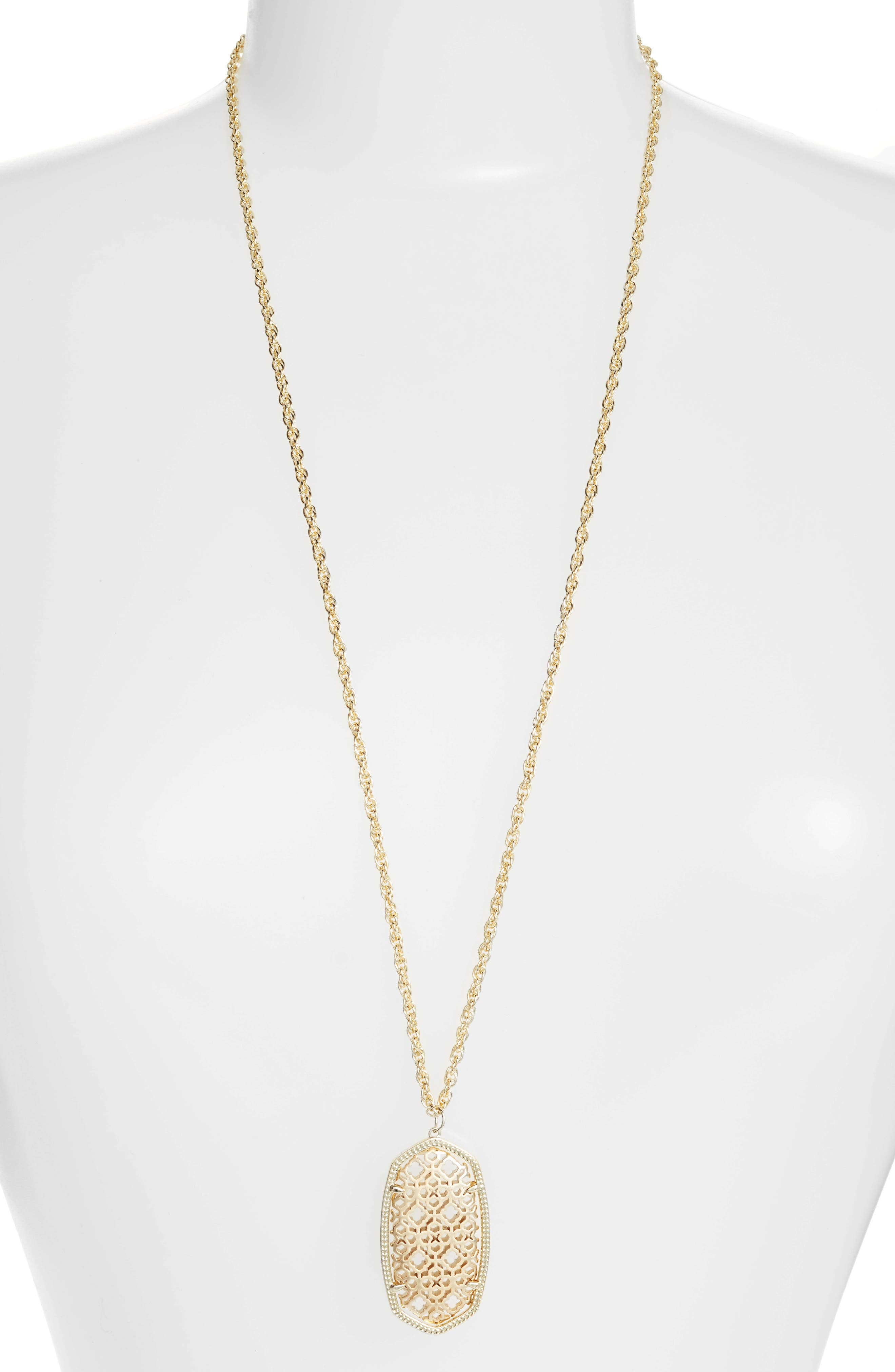 Rae Long Filigree Pendant Necklace,                         Main,                         color, Gold