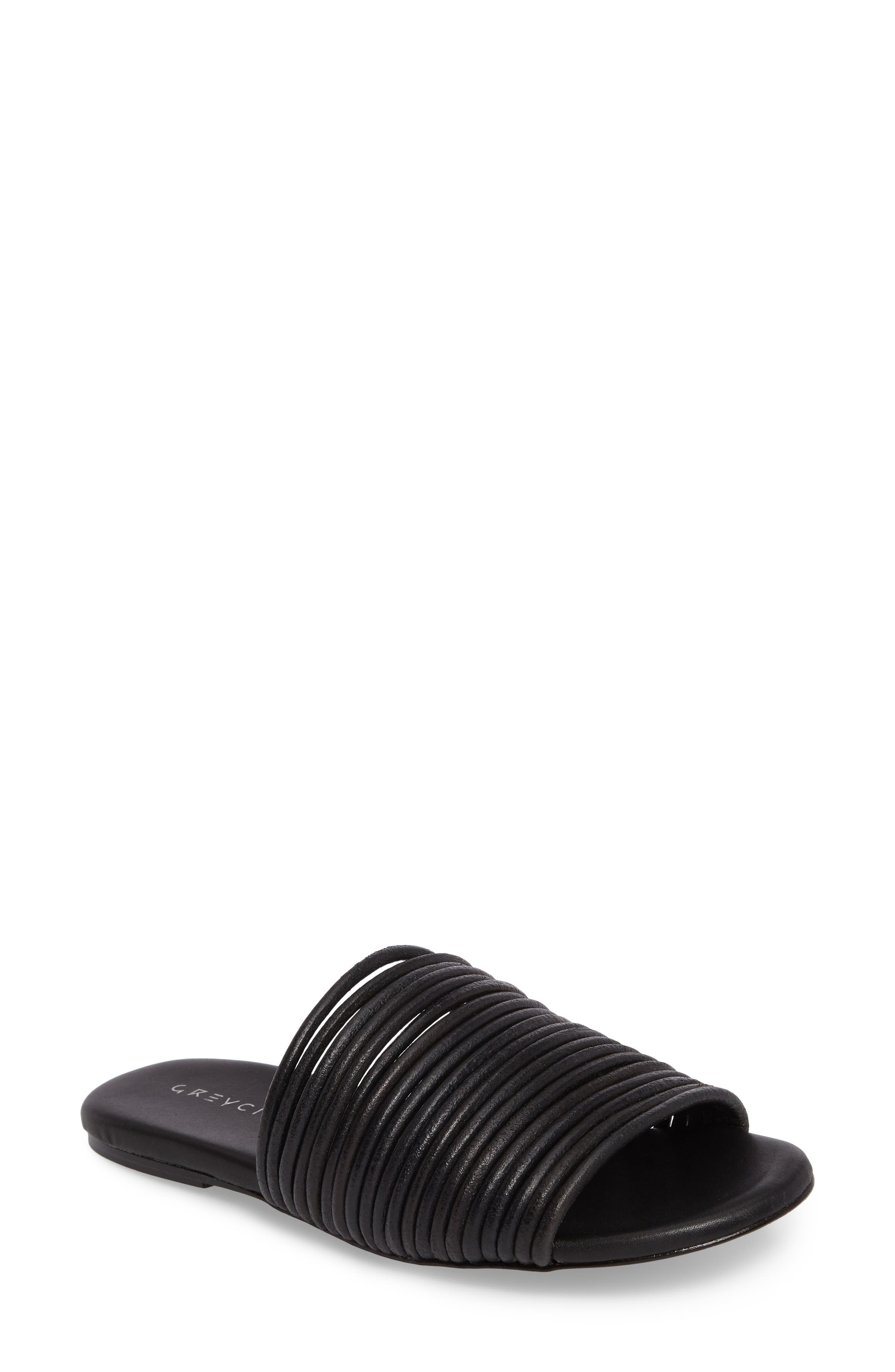 Nikki Corded Slide Sandal,                             Main thumbnail 1, color,                             Black