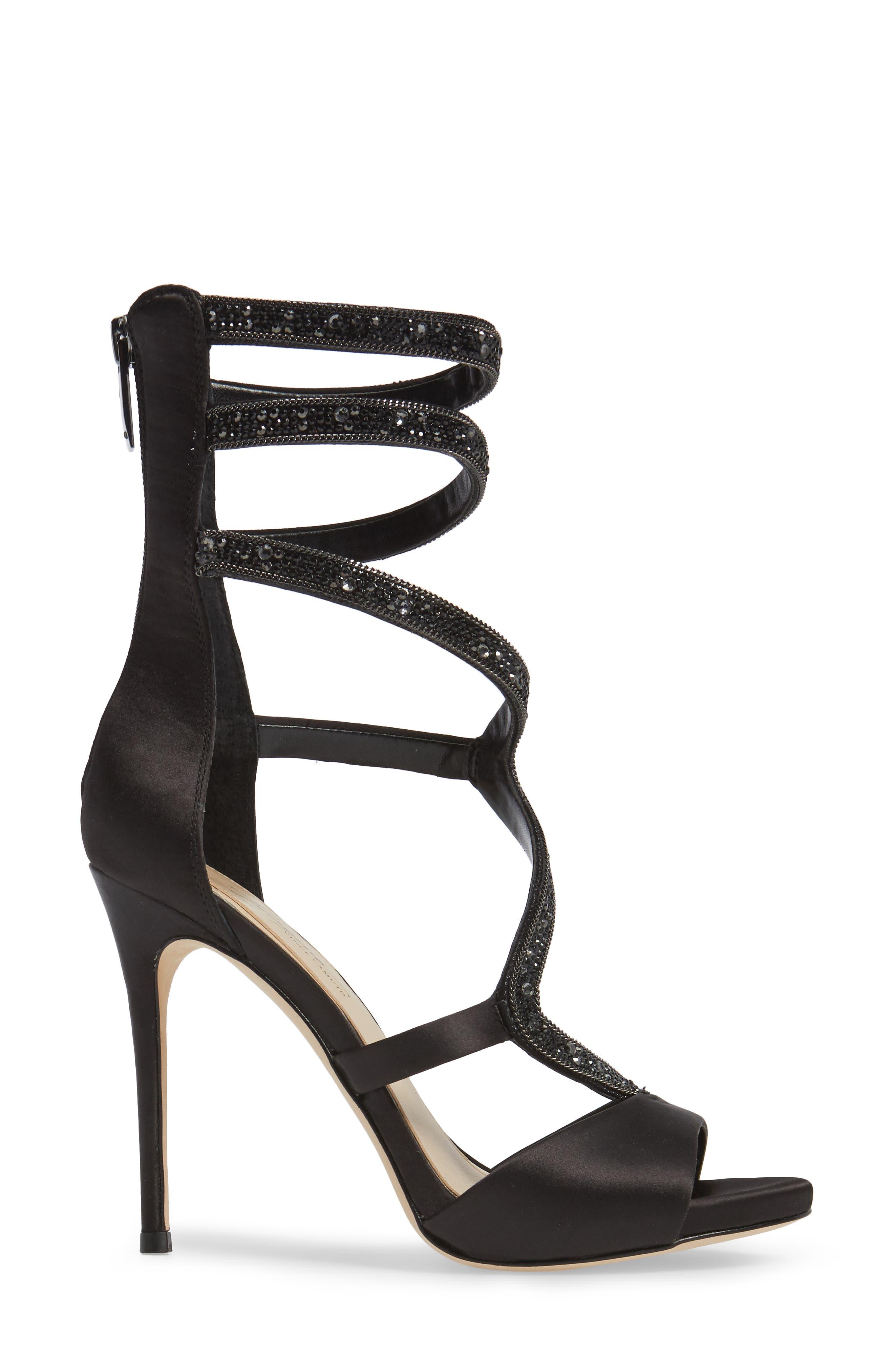 Imagine Vince Camuto Dafny Embellished Sandal,                             Alternate thumbnail 3, color,                             Black Satin