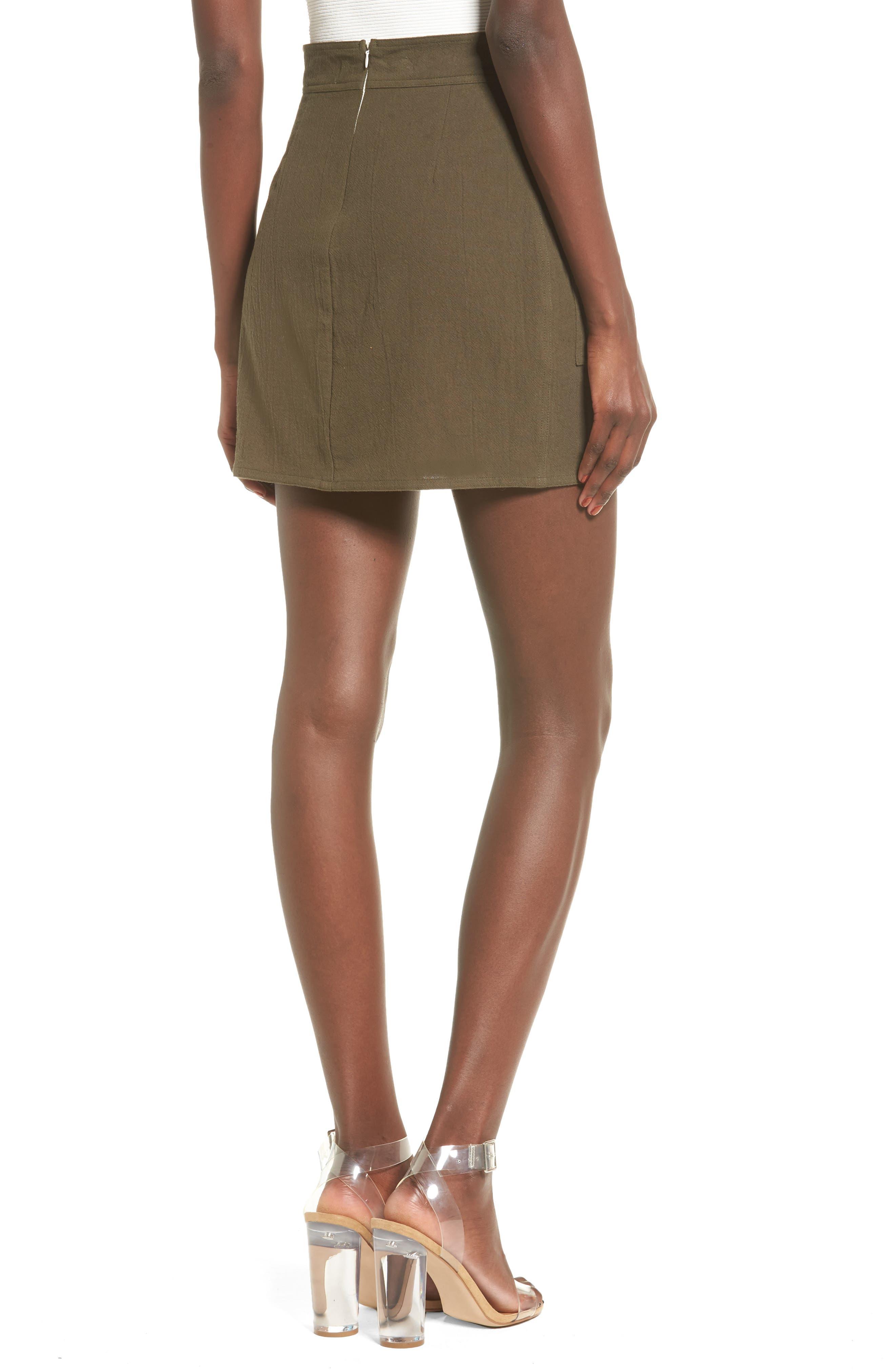 Paperbag Miniskirt,                             Alternate thumbnail 2, color,                             Olive Sarma