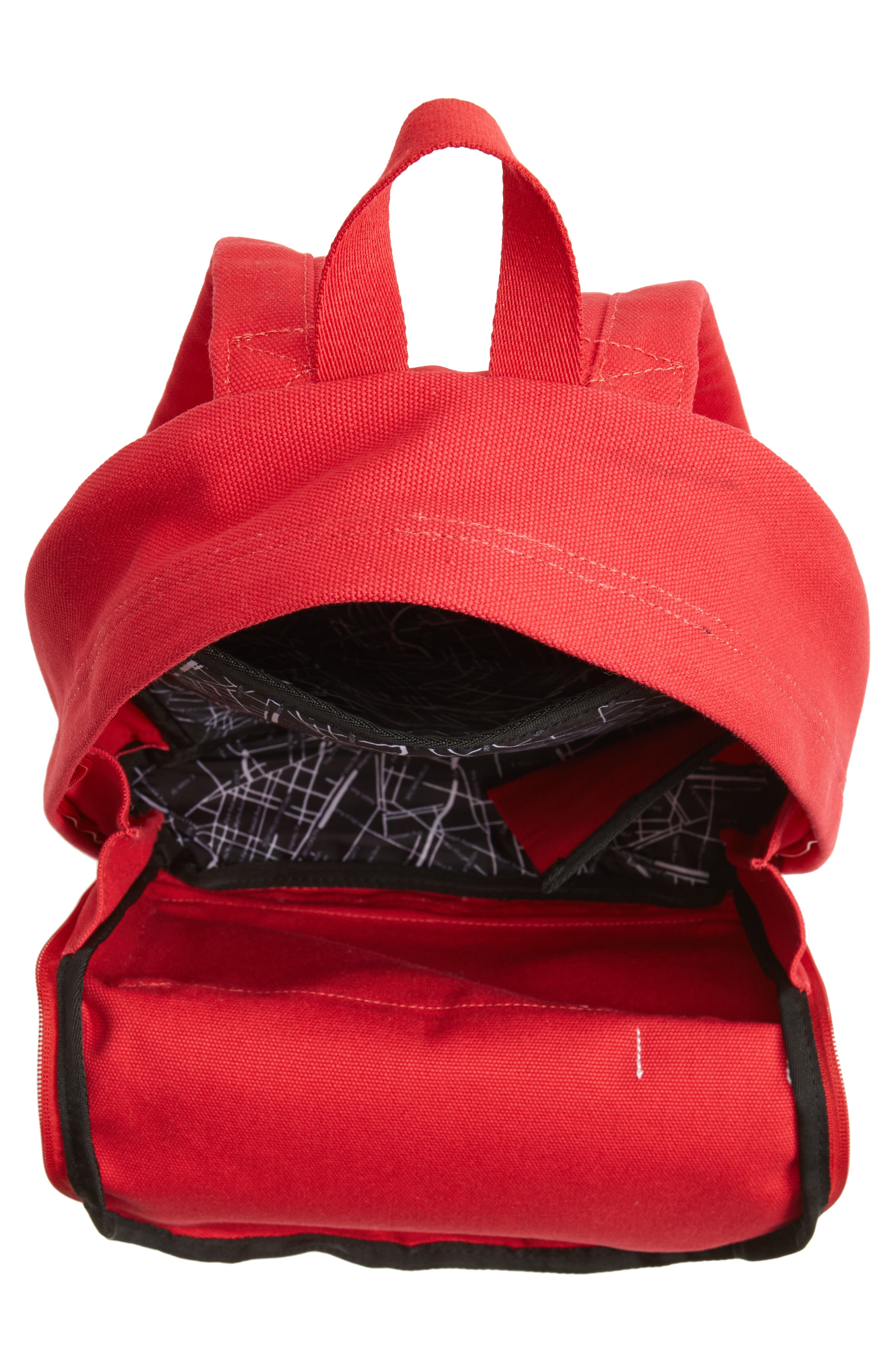 Slim Lorimer Water Resistant Canvas Backpack,                             Alternate thumbnail 4, color,                             Red
