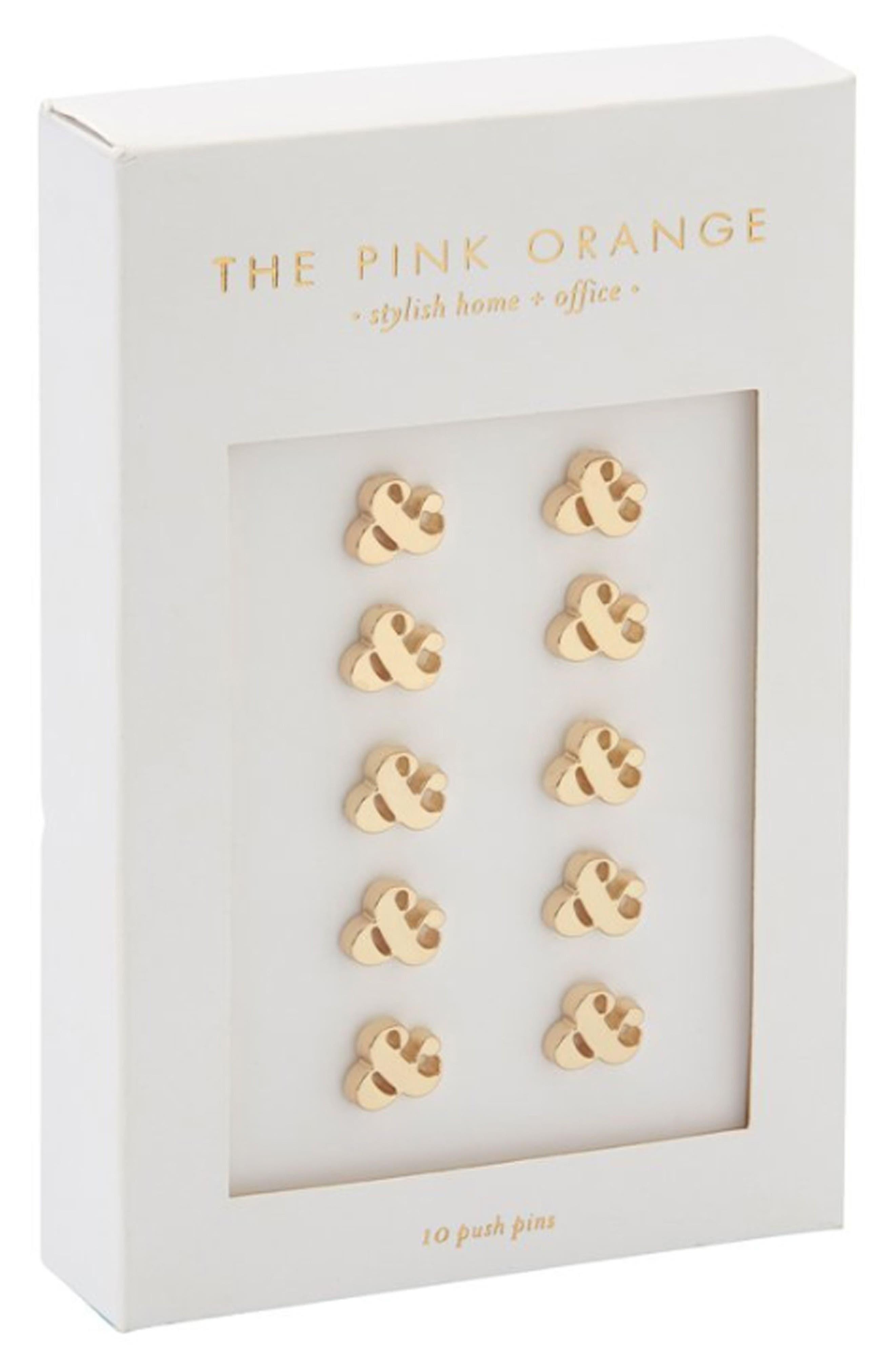 The Pink Orange Set of 10 Ampersand Pushpins