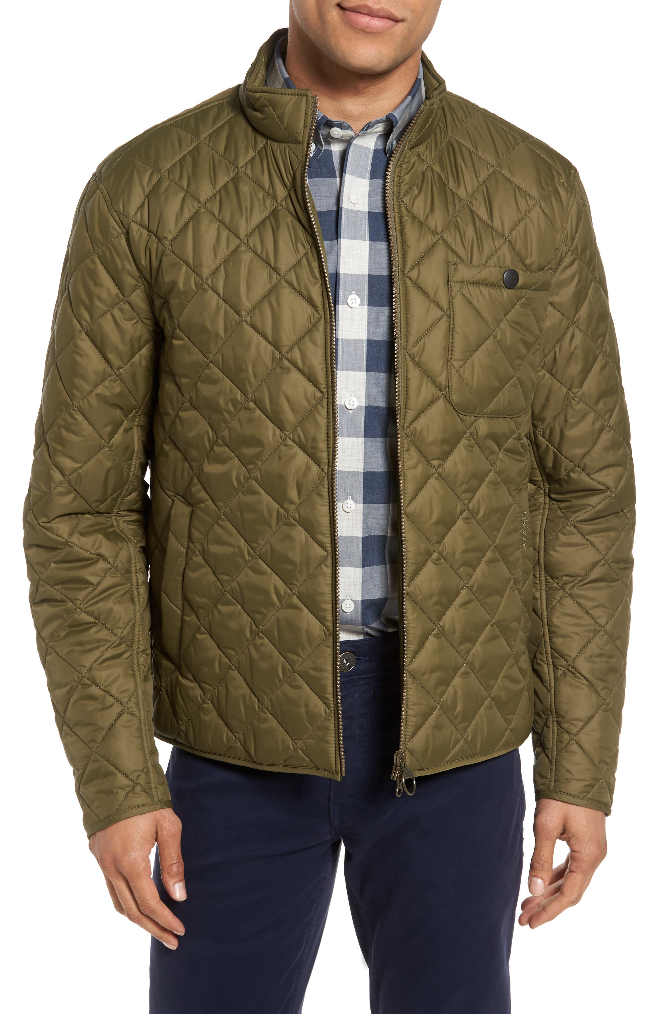 Pod Slim Fit Quilted Jacket,                             Main thumbnail 1, color,                             Olive