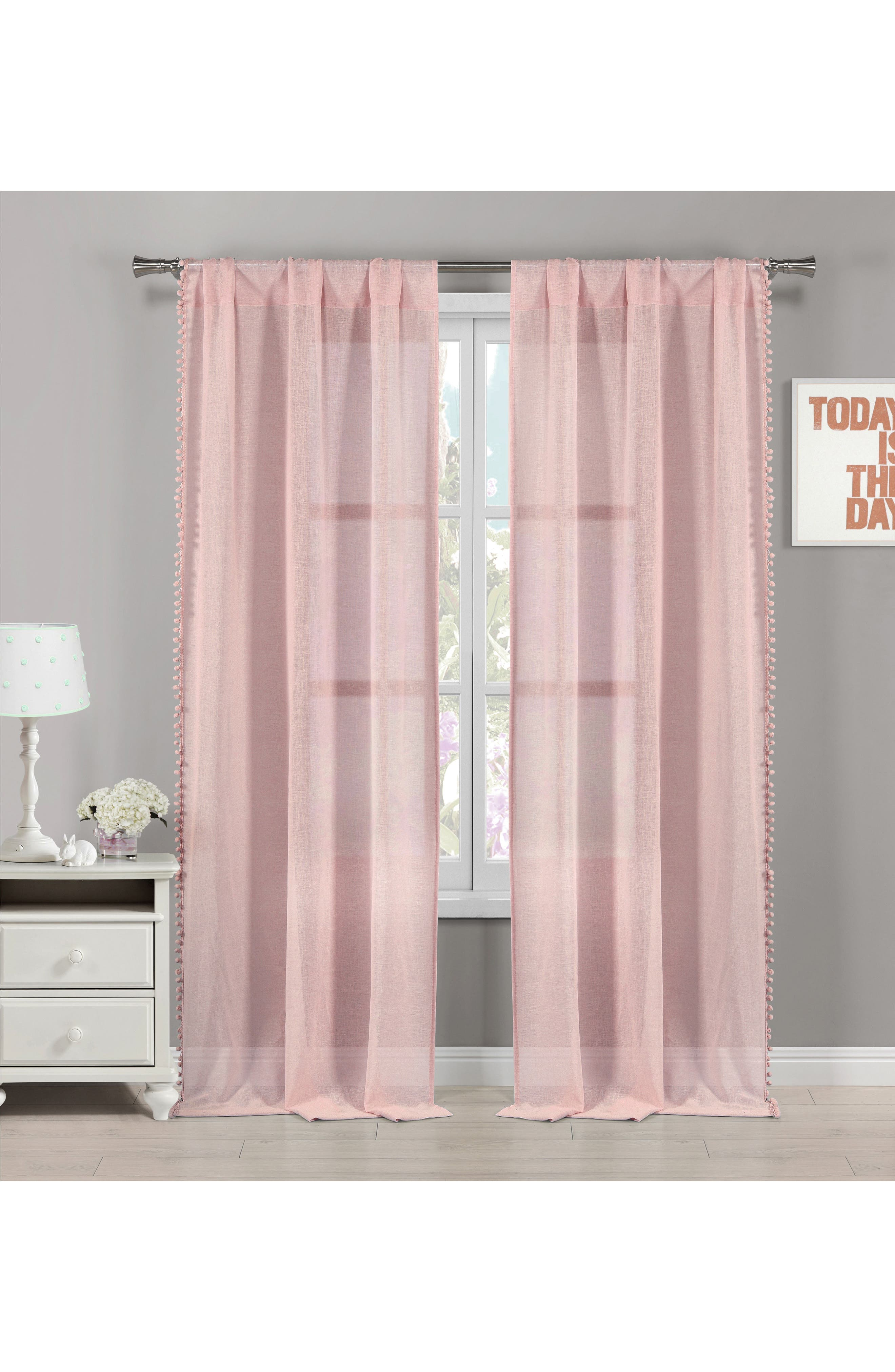 Addyson Sheer Pompom Window Panels,                             Main thumbnail 1, color,                             Pretty Pink