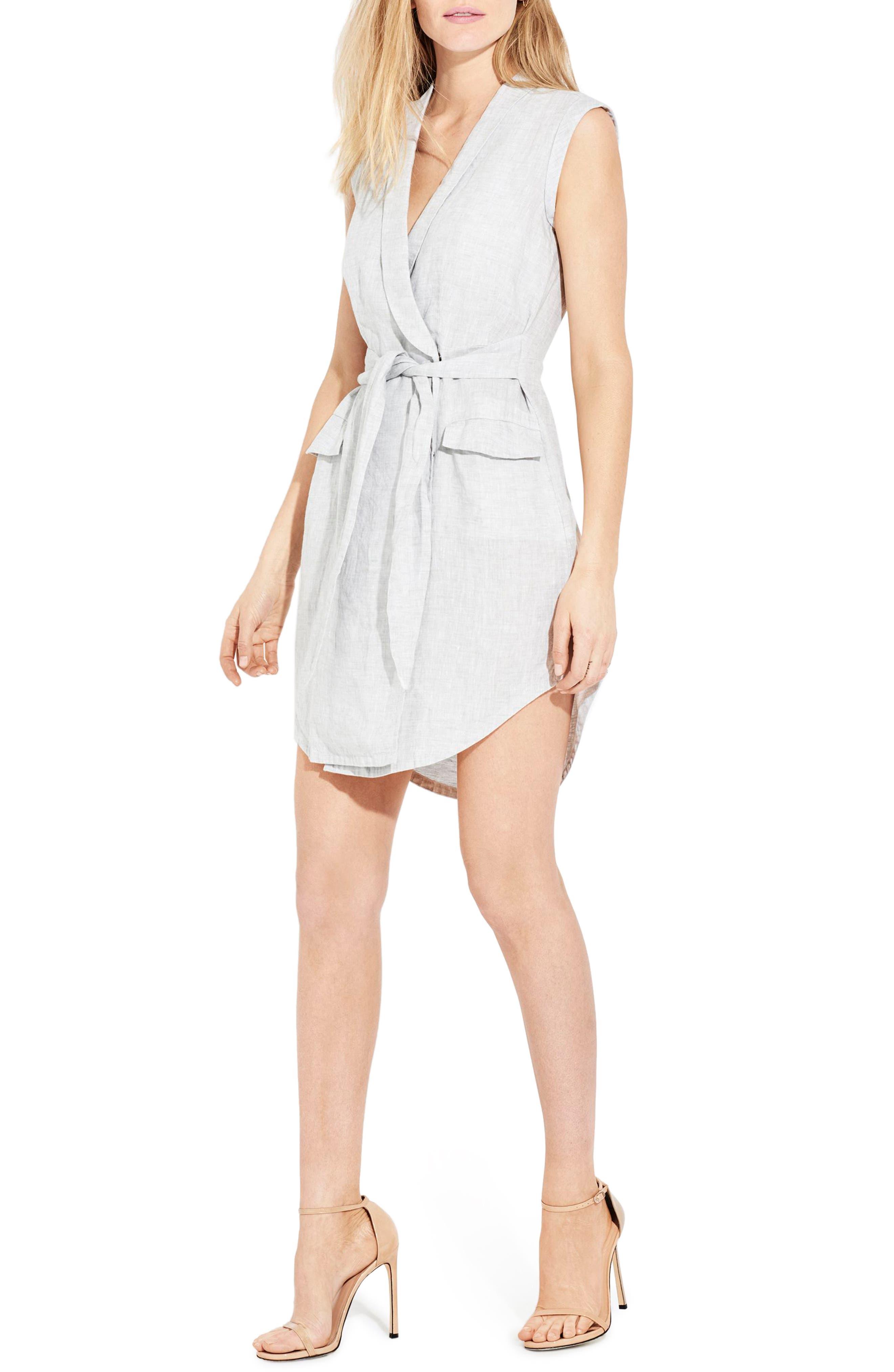 The Linen Utility Wrap Dress,                         Main,                         color, Silver Fox