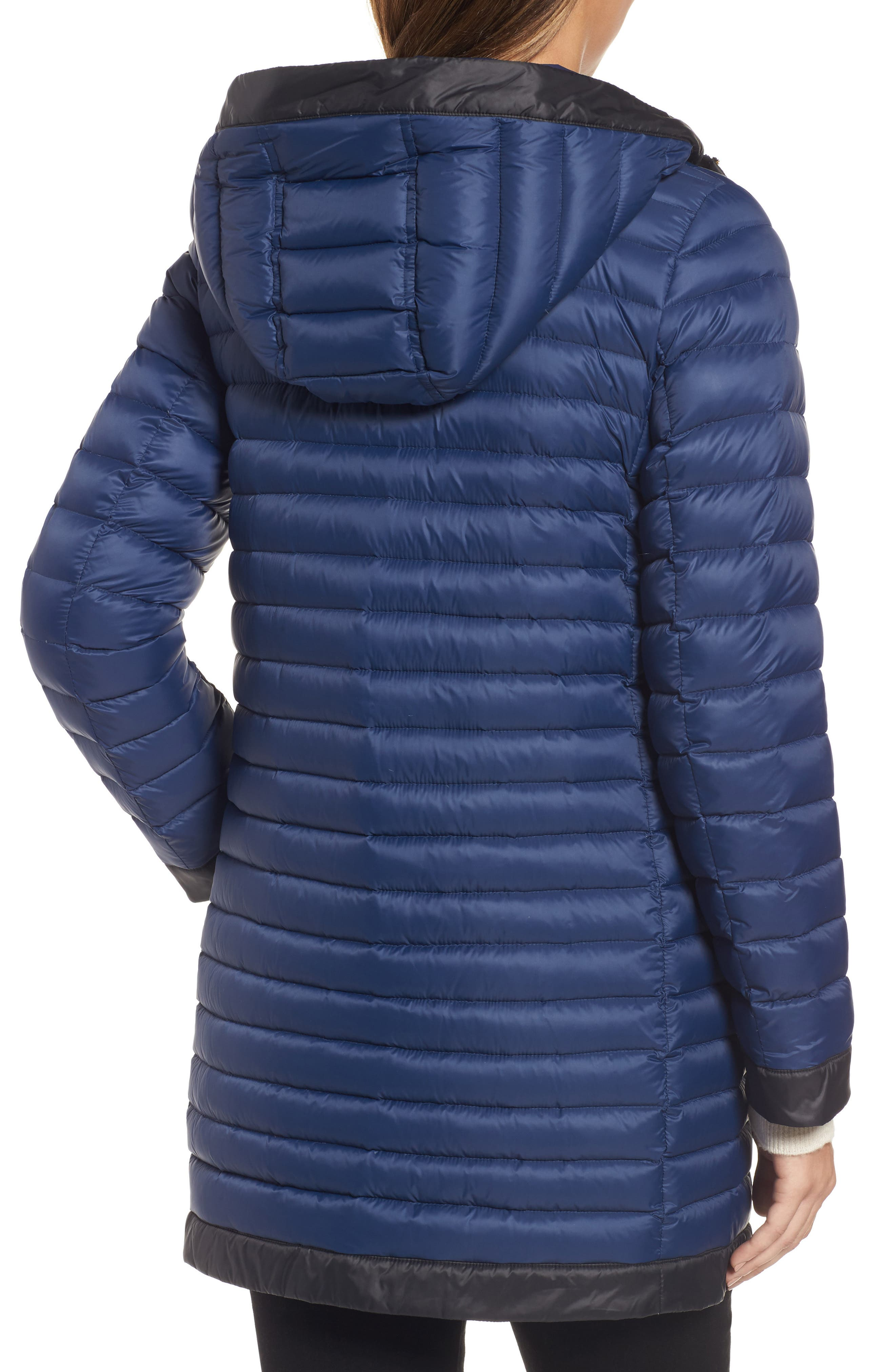 contrast trim hooded puffer coat,                             Alternate thumbnail 2, color,                             Rich Navy/ Black