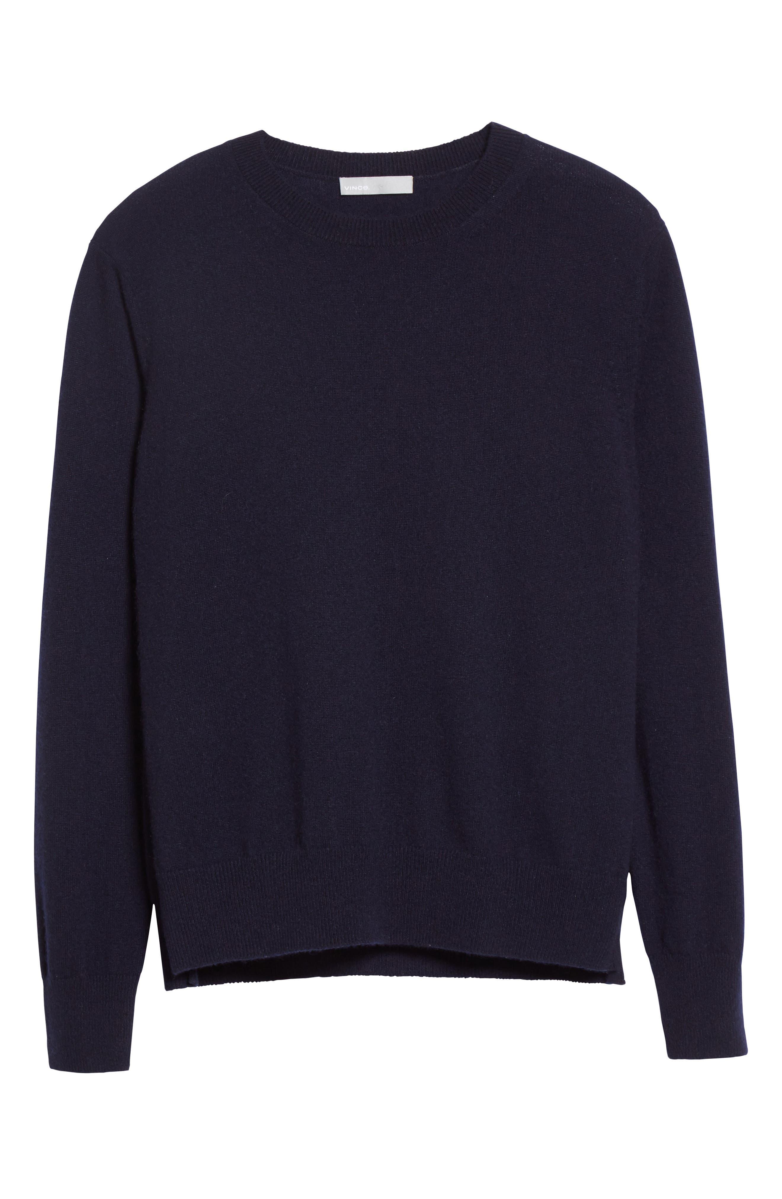 Cashmere Step Hem Sweater,                             Alternate thumbnail 6, color,                             Coastal