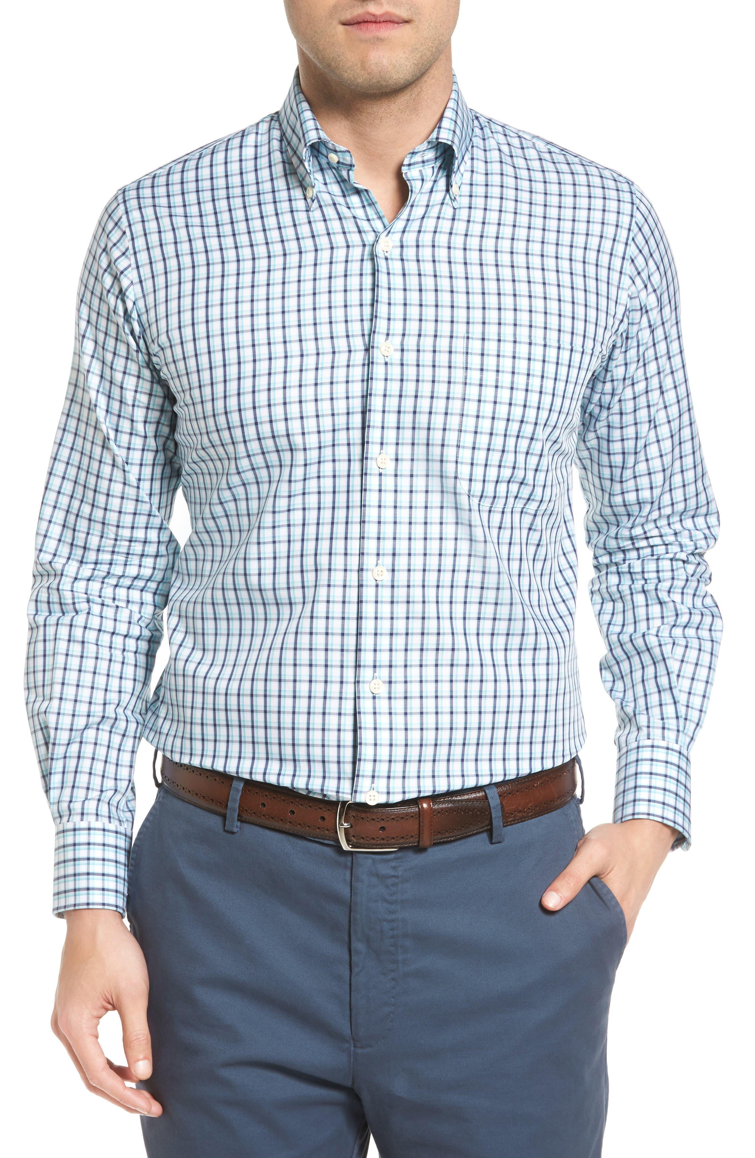 Peter Millar Regular Fit Crisp Pane Sport Shirt