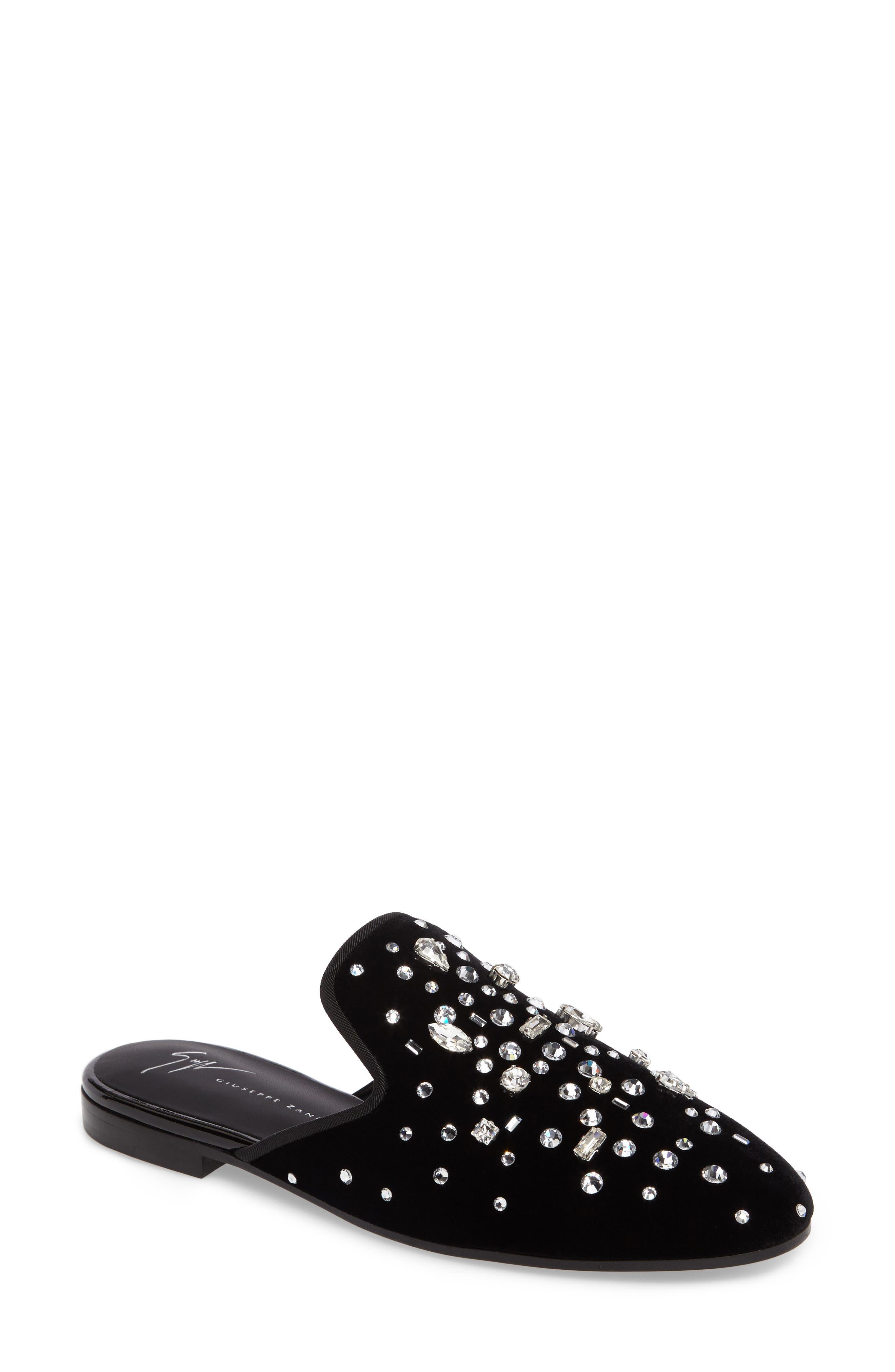 Alternate Image 1 Selected - Giuseppe Zanotti Embellished Velvet Loafer Mule (Women)