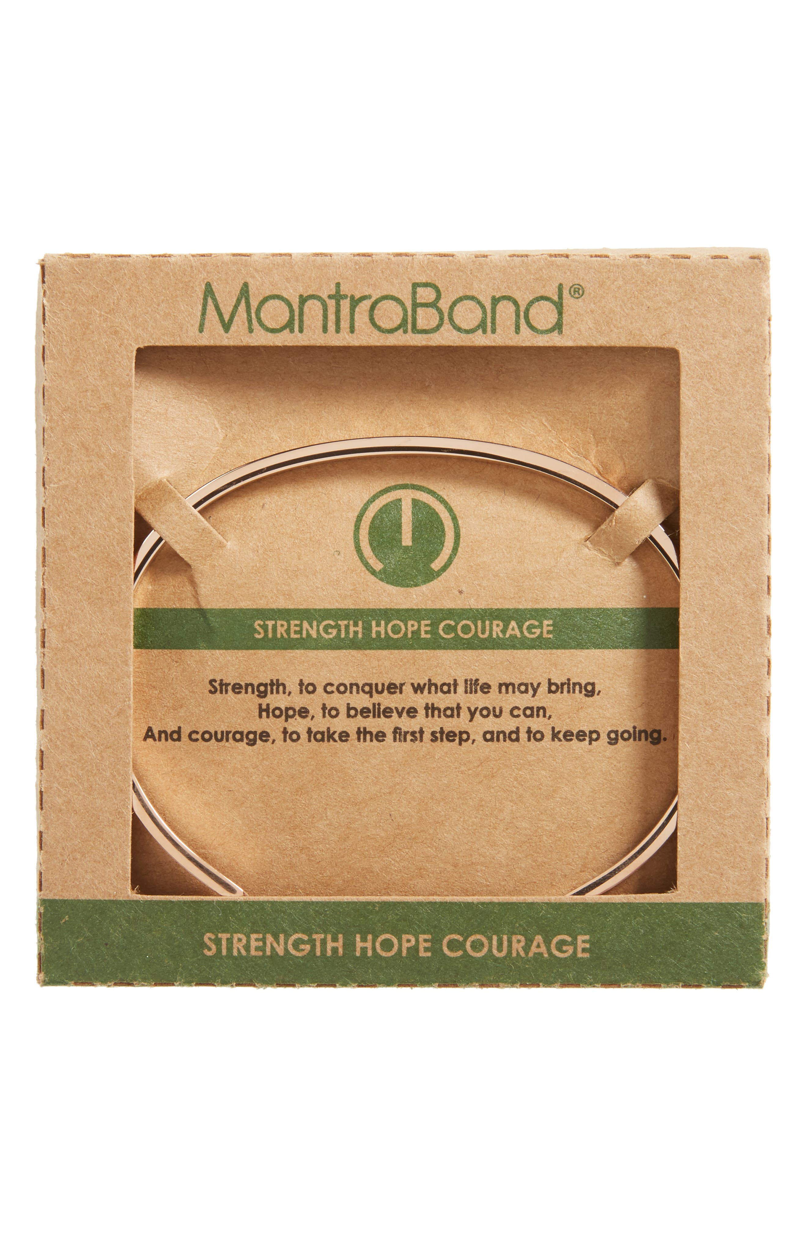 MantraBand Strength Hope Courage Engraved Cuff