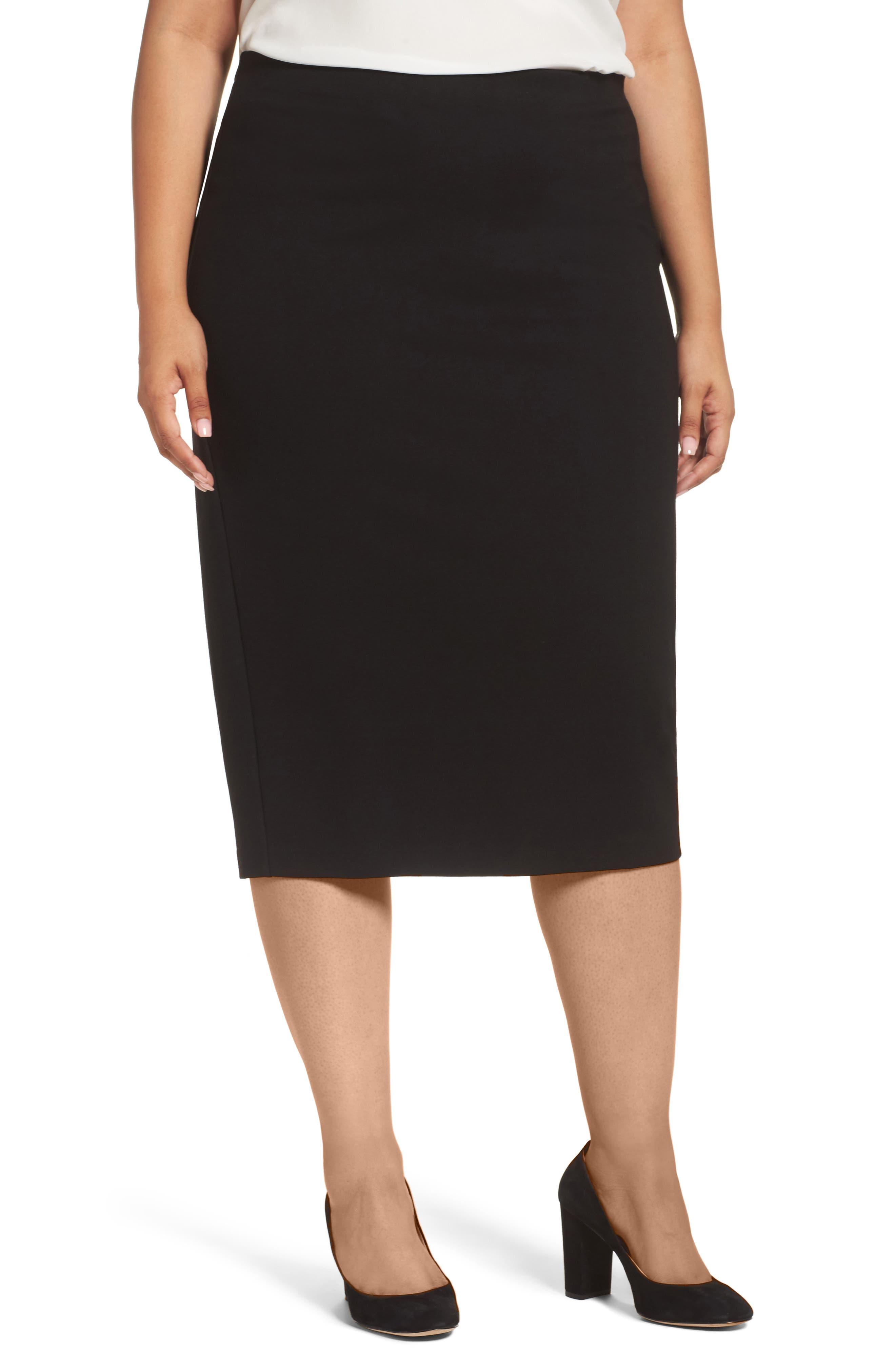 Sejour Zip Vent Midi Pencil Skirt (Plus Size)