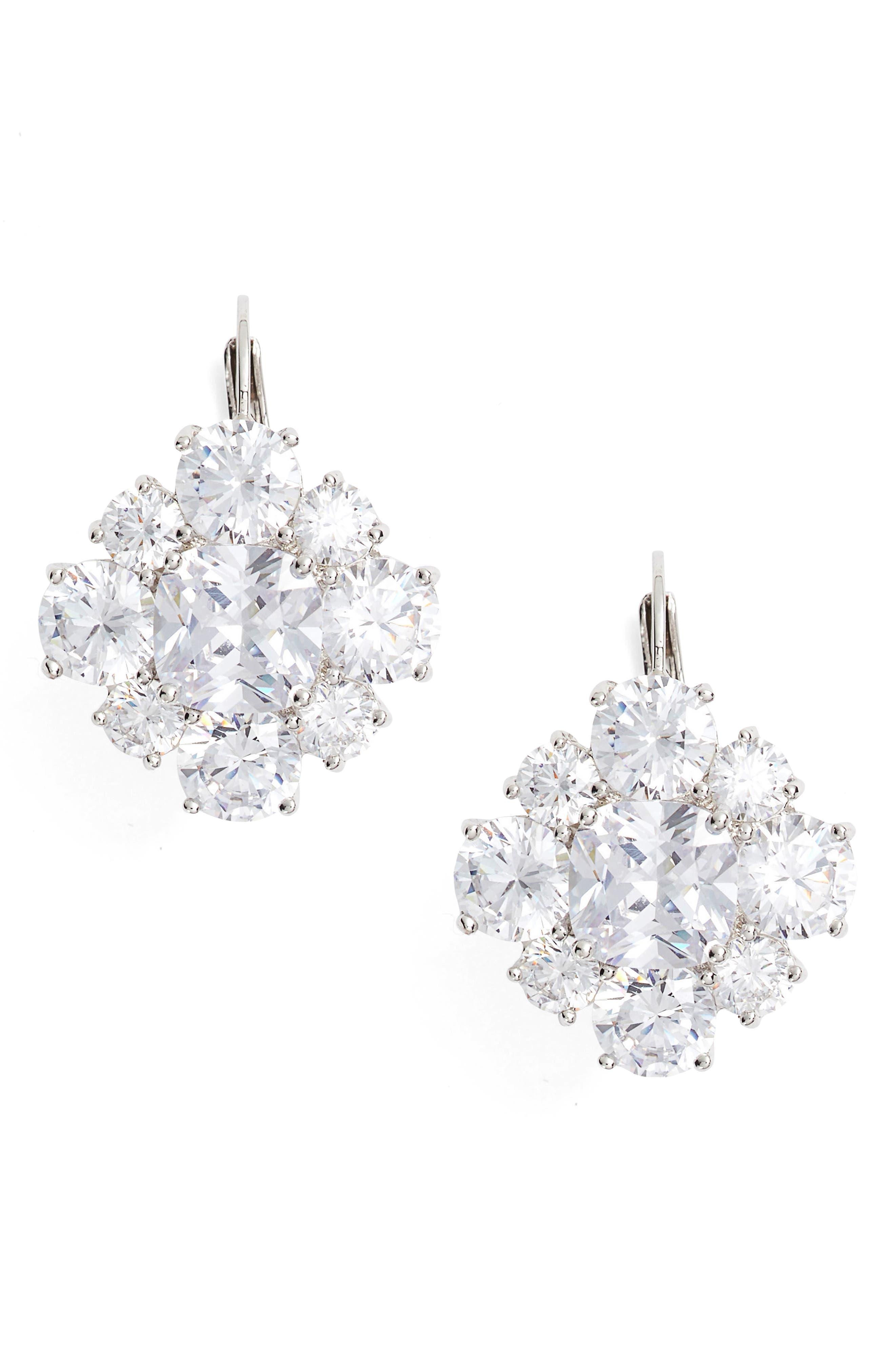 Crystal Drop Earrings,                         Main,                         color, Silver