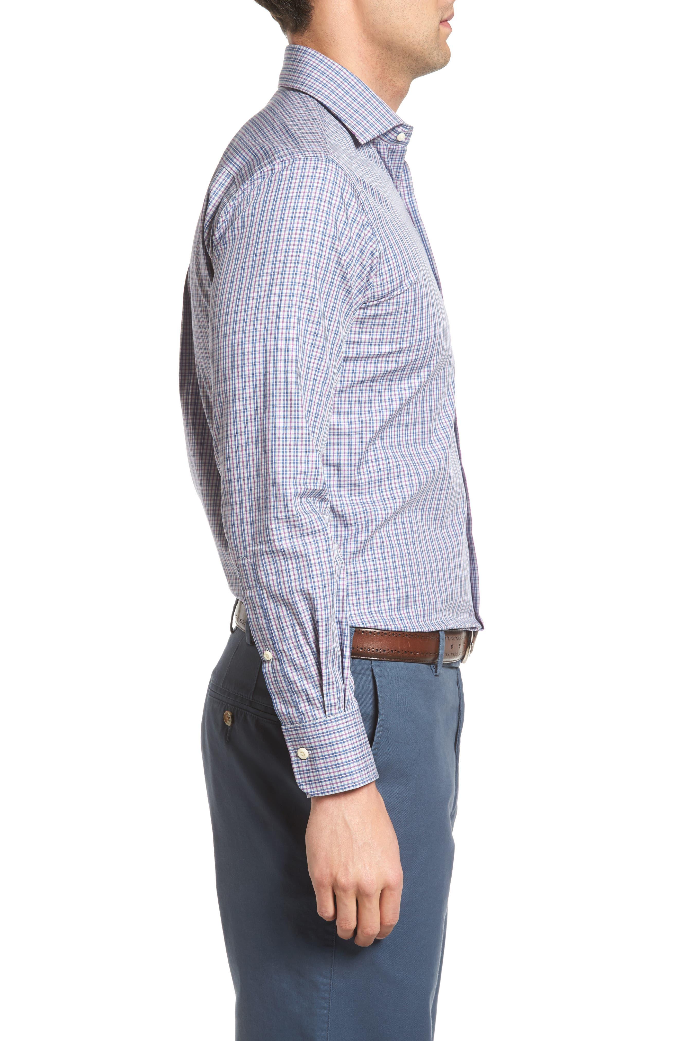 Hillock Plaid Regular Fit Sport Shirt,                             Alternate thumbnail 3, color,                             Stingray