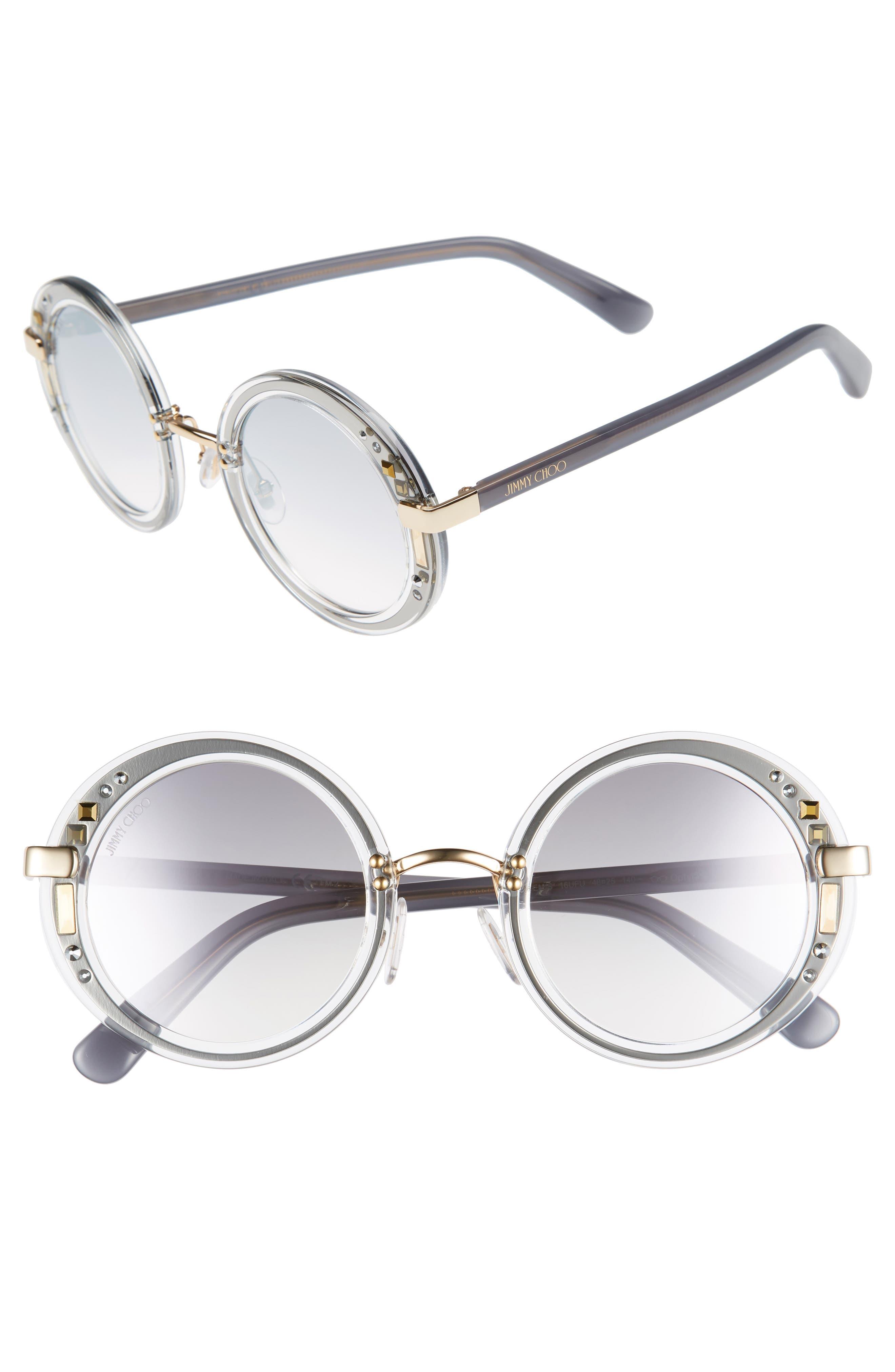 Gems 48mm Round Sunglasses,                         Main,                         color, Crystal/ Ruthenium/ Grey