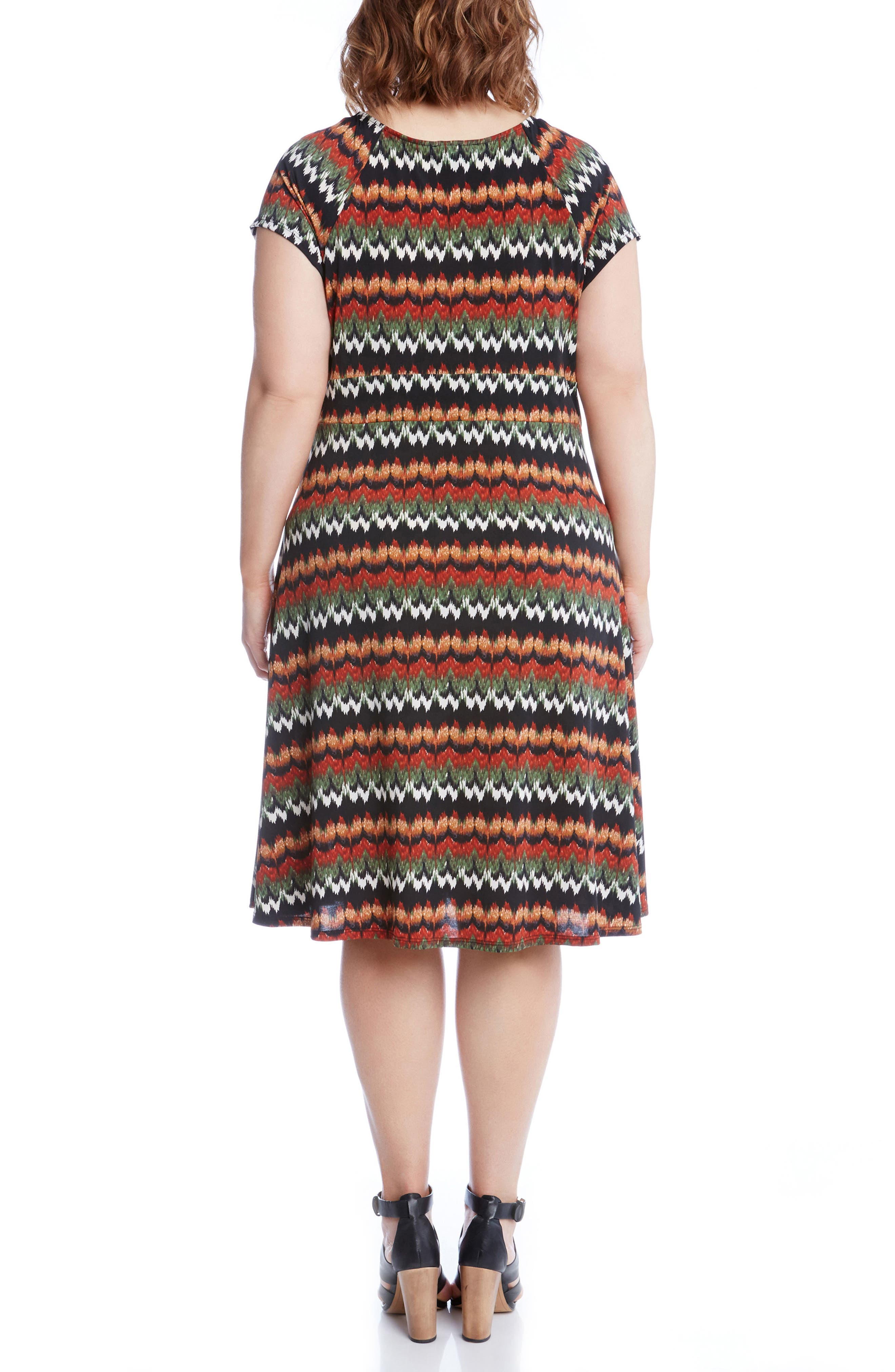 Print Cascade Drape Dress,                             Alternate thumbnail 3, color,                             Print