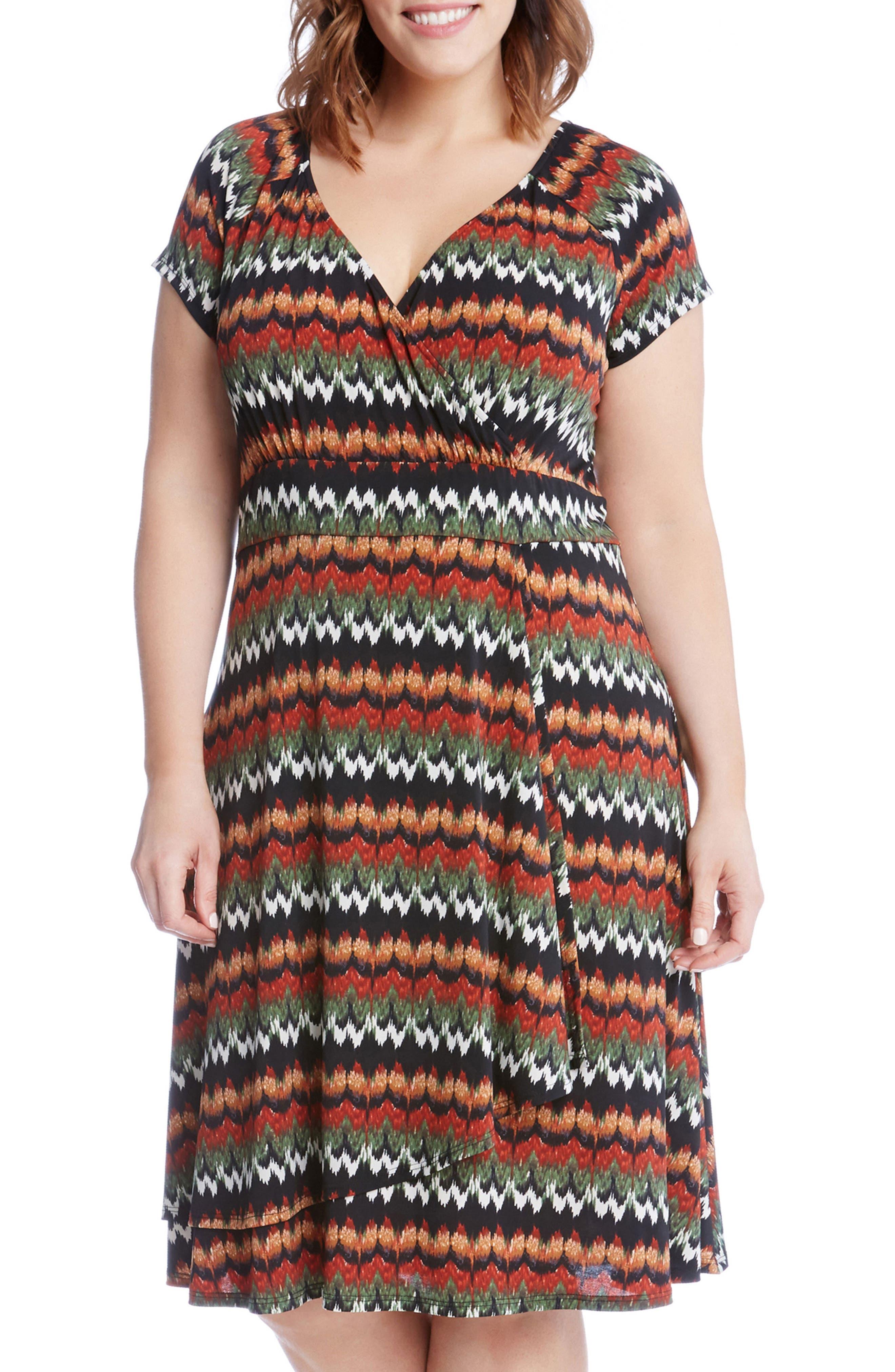 Karen Kane Print Cascade Drape Dress (Plus Size)