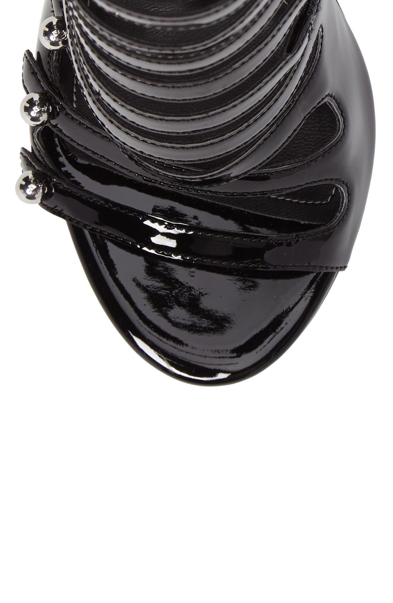 Giaa Strappy Sandal,                             Alternate thumbnail 5, color,                             Black Patent Leather
