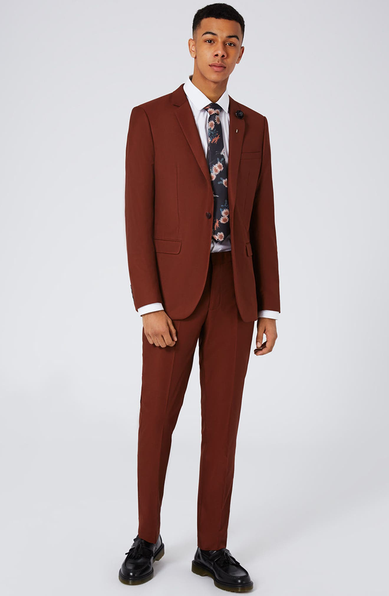 Skinny Fit Suit Jacket,                             Alternate thumbnail 2, color,                             Burgundy