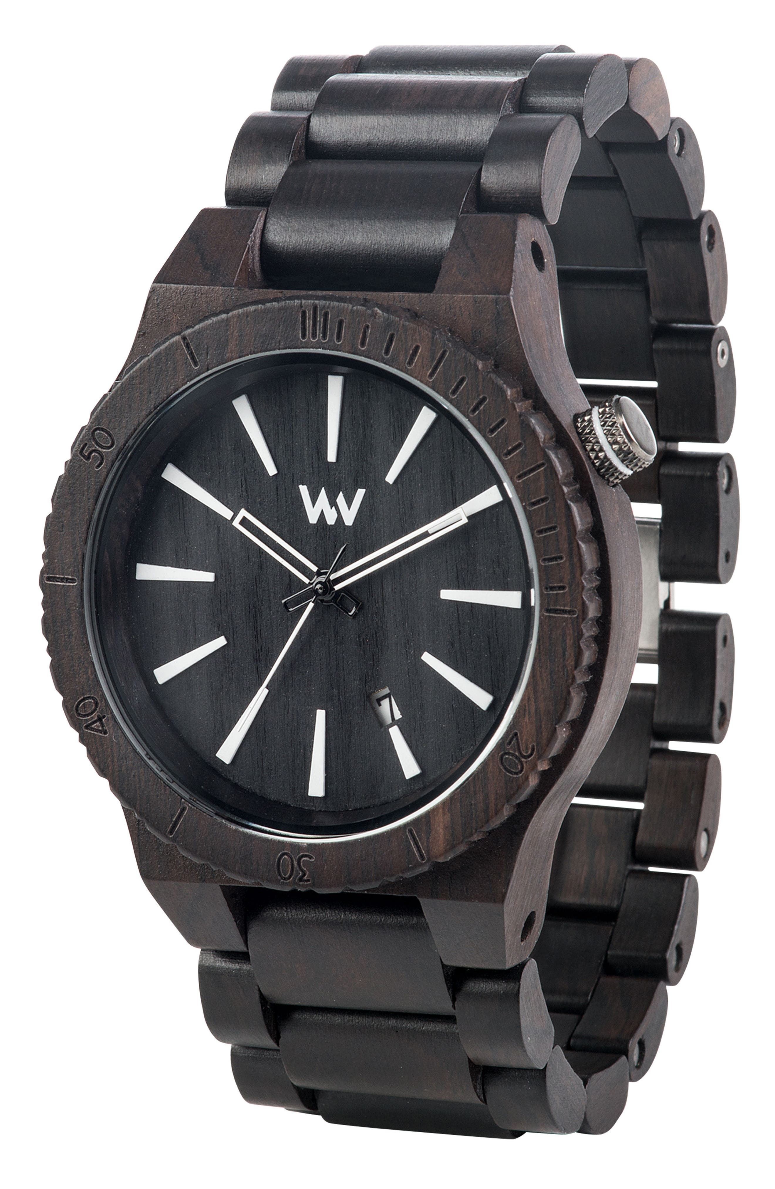 Assunt Wood Bracelet Watch, 46mm,                             Alternate thumbnail 3, color,                             Black/ White